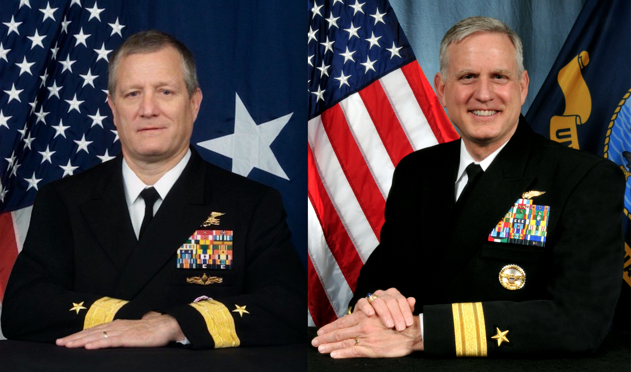 Rear Adm. Timothy G. Szymanski (left) has been picked to head Naval Special Warfare Command. Rear Adm. Dee L. Mewbourne (right) has been selected to head US Military Sealift Command. US Navy Photos