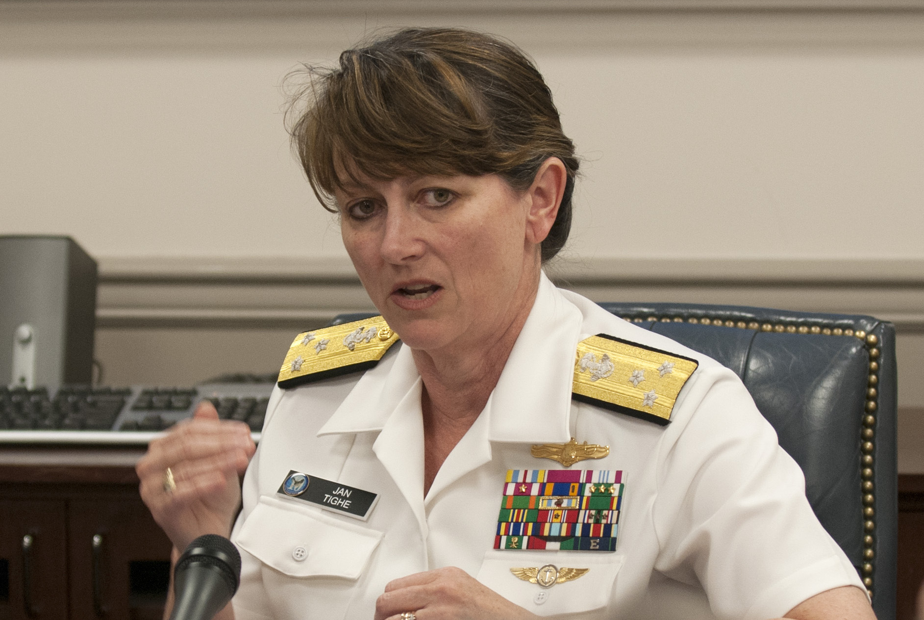 Vice Adm. Jan Tighe, commander of U.S. Fleet Cyber Command/U.S. Tenth Fleet in 2015. US Navy Photo