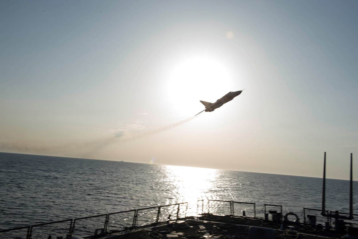 160412-N-00000-007 BALTIC SEA – A Russian Sukhoi Su-24 attack aircraft makes a low altitude pass by the USS Donald Cook (DDG 75) April 12, 2016. Donald Cook, an Arleigh Burke-class guided-missile destroyer, forward deployed to Rota, Spain is conducting a routine patrol in the U.S. 6th Fleet area of operations in support of U.S. national security interests in Europe. (U.S. Navy photo/Released) 160412-N-