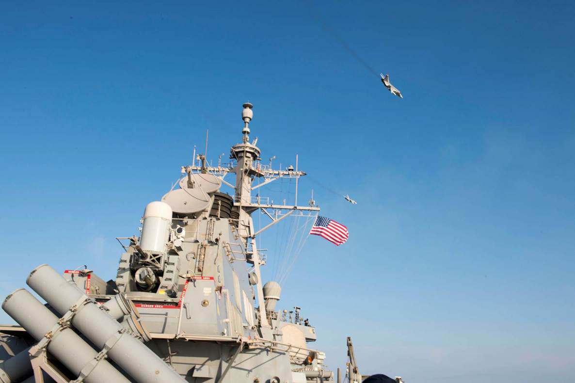 160412-N-00000-009 BALTIC SEA – Two Russian Sukhoi Su-24 attack aircraft fly over the USS Donald Cook (DDG 75) Apr. 12, 2016. Donald Cook, an Arleigh Burke-class guided-missile destroyer, forward deployed to Rota, Spain is conducting a routine patrol in the U.S. 6th Fleet area of operations in support of U.S. national security interests in Europe. (U.S. Navy photo/Released)