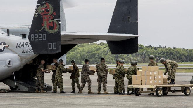 Marine Ospreys, Air Force C-130s in Southern Japan for Earthquake Relief