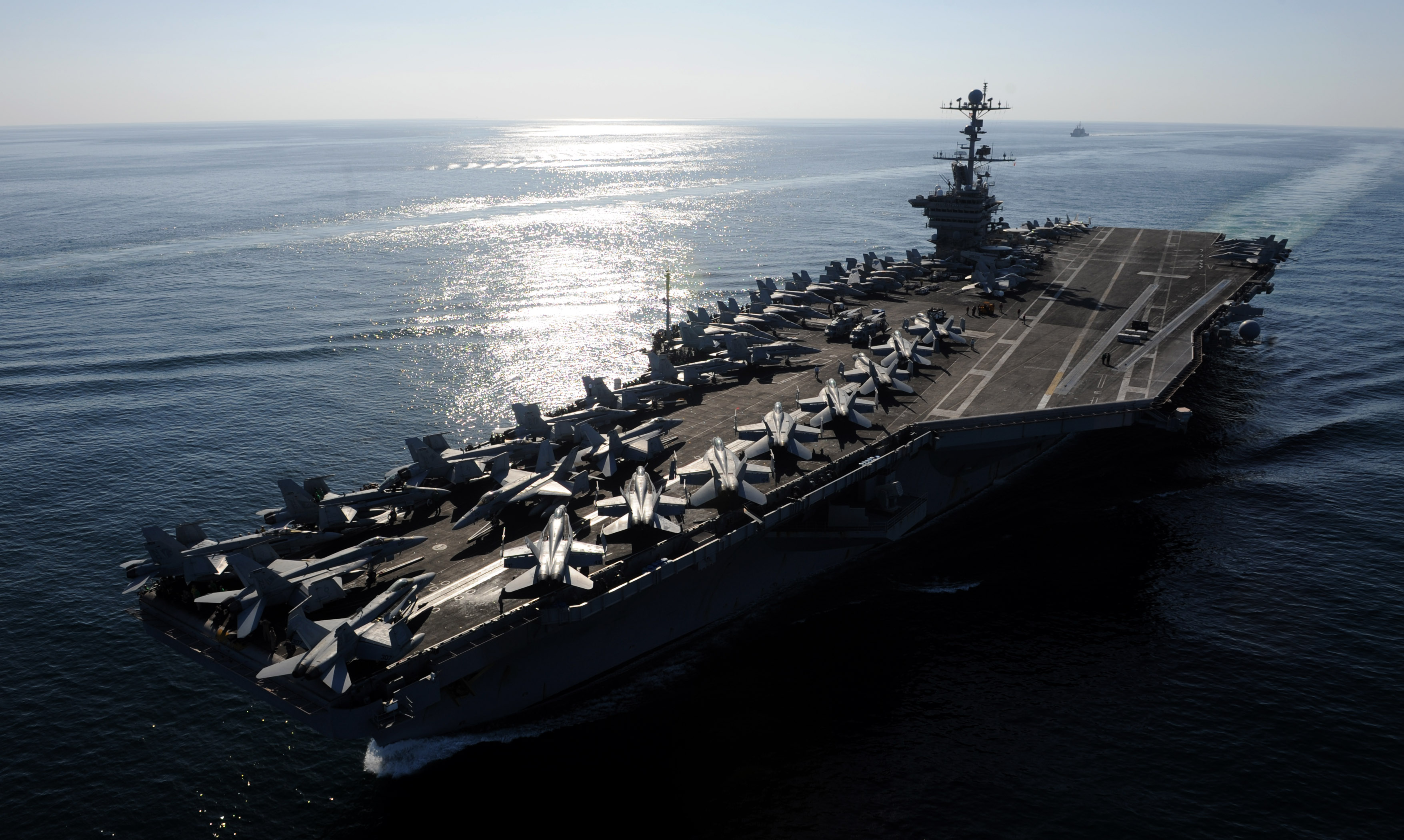 USS John C. Stennis (CVN-74) steams through the Straits of Hormuz in 2011. US Navy Photo