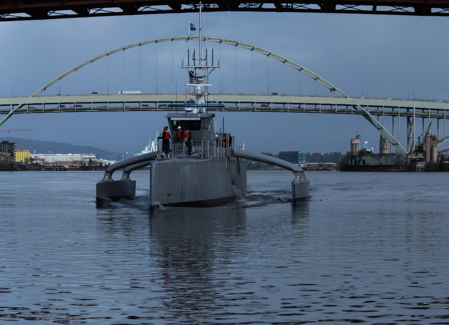 The Defense Advanced Research Projects Agency tests its Sea Hunter unmanned vehicle -- the technology demonstration vessel it designed, developed and built through its anti-submarine warfare continuous trail unmanned vessel program, or ACTUV -- in Portland, Ore., prior to an April 7 commissioning ceremony. DARPA photo.