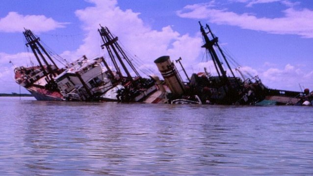 SS Eastern Mariner, sunk by a Viet Cong mine in the Nha Be anchorage in 1966. Tom Briggs Photo