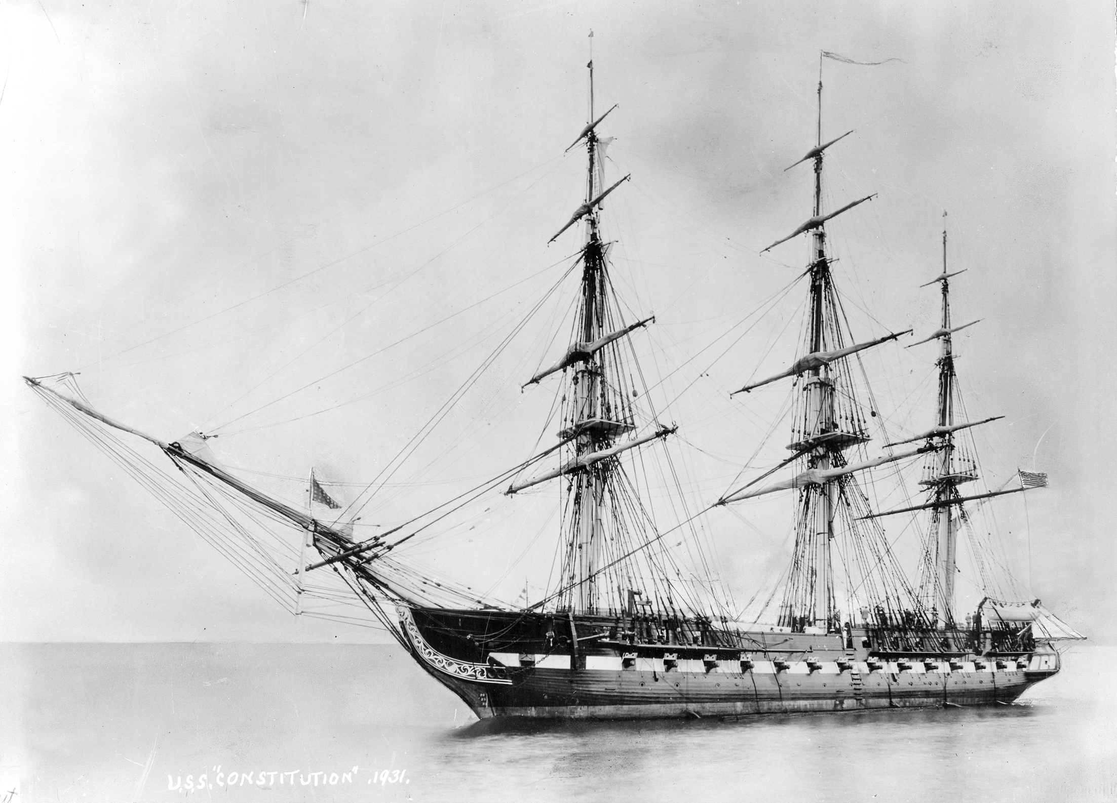 USS Constitution is shown in a 1931 photograph shortly after her recommissioning in July of that year after an extensive restoration. Naval Institute Photo Archive