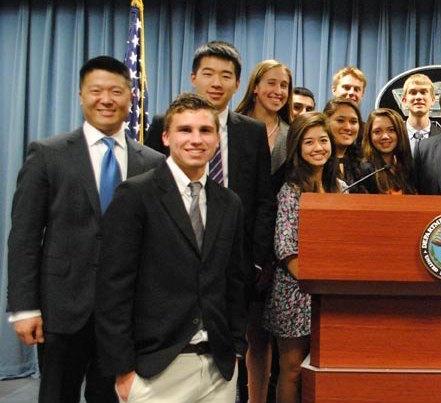Lin, far left, in the Pentagon during his tour as liaison to Congress