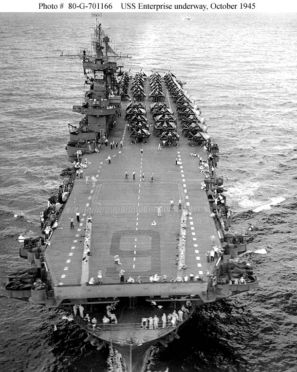 USS Enterprise (CV-6) in 1945. National Archives Photo