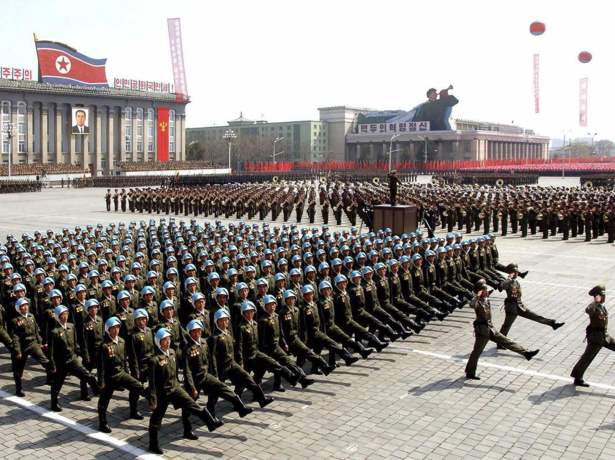 North Korean Infantry parade in Pyongyang. Korean Central News Agency Photo