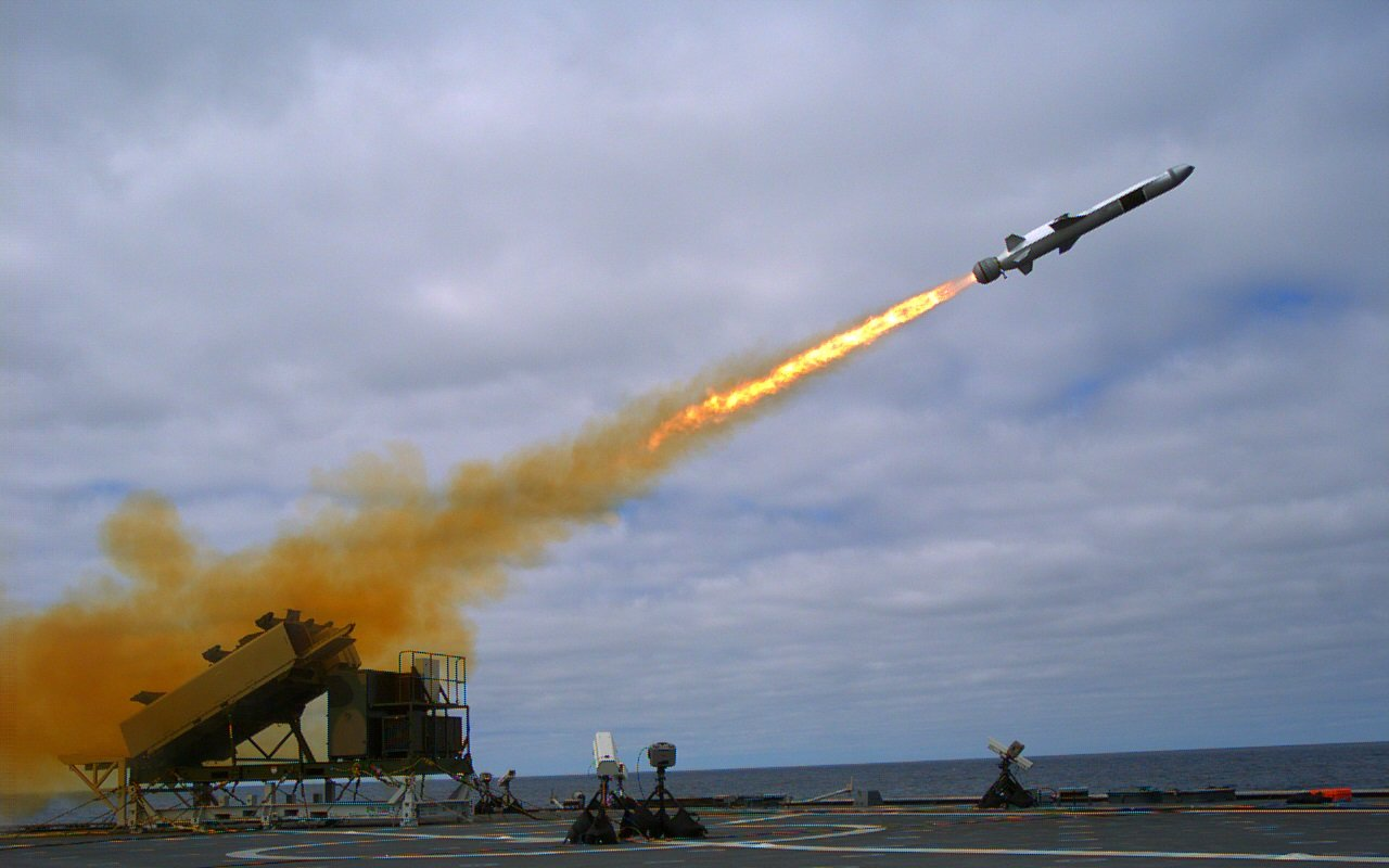 A Kongsberg Naval Strike Missile (NSM) is launched from the littoral combat ship USS Coronado (LCS 4) during missile testing operations off the coast of Southern California in September 2014. US Navy photo.