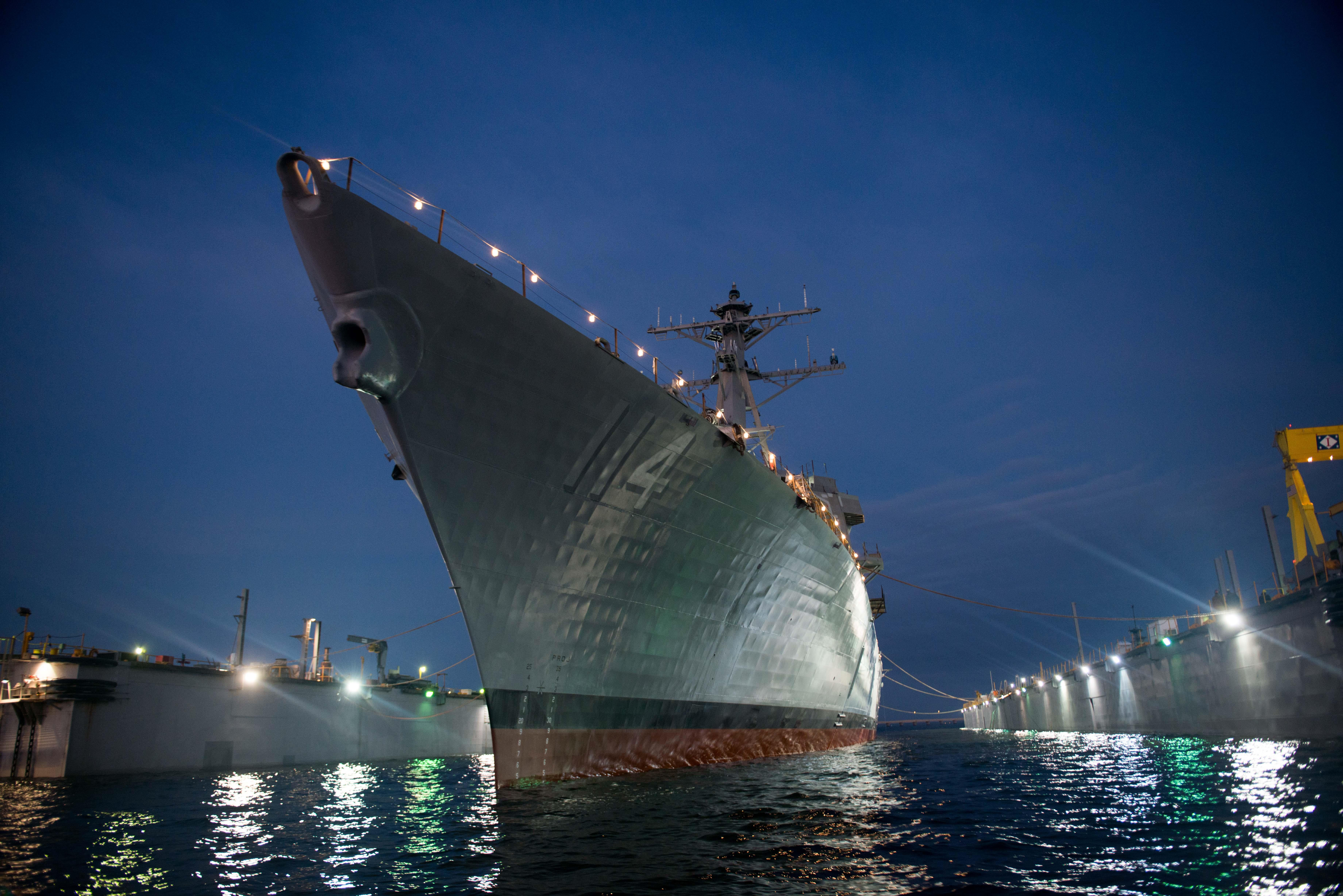 Ralph Johnson (DDG-114) launching at the Huntington Ingalls Industries shipyard on Dec. 12, 2015. HII Photo