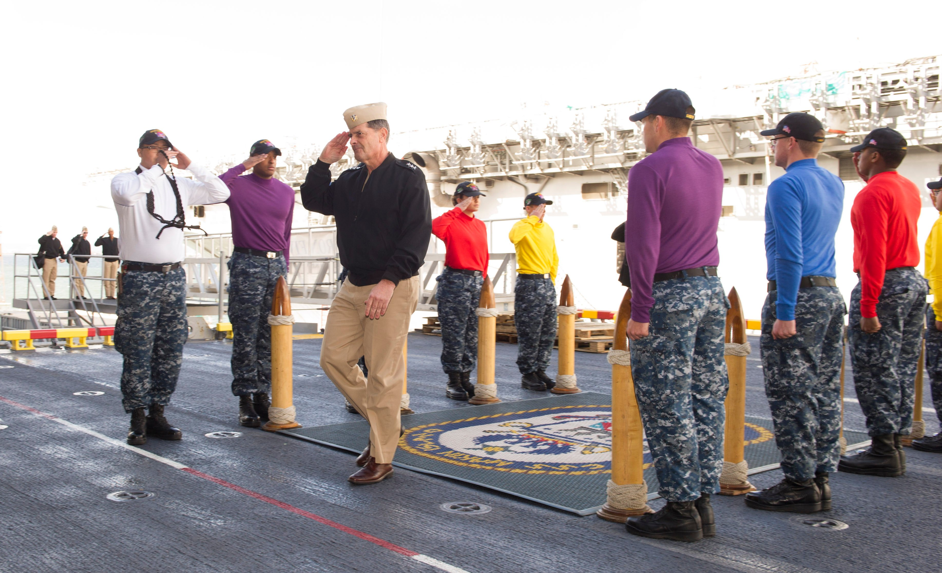 Chief of Naval Personnel, Vice Adm. Bill Moran is piped aboard the amphibious assault ship USS Makin Island (LHD 8) in San Diego on Jan. 7, 2016, where he held an all hands call during his first stop on a Pacific Fleet tour. US Navy photo.