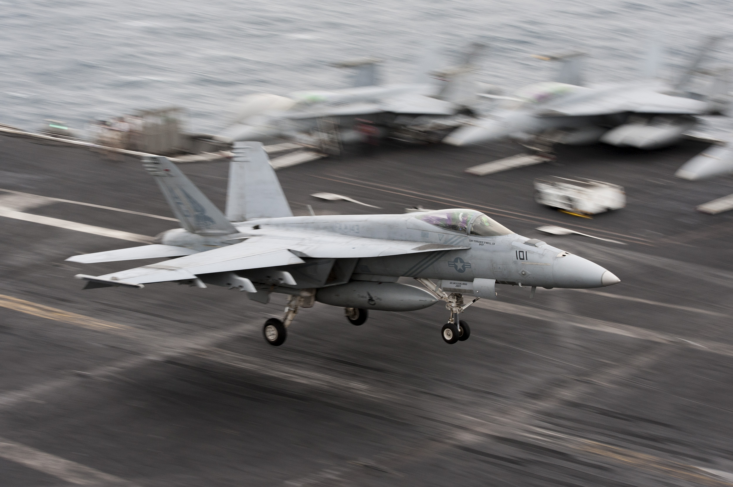 "An F/A-18E Super Hornet, assigned to the ""Pukin' Dogs"" of Strike Fighter Squadron (VFA) 143, lands on the flight deck of aircraft carrier USS Harry S. Truman (CVN 75) on April 30, 2016. US Navy photo."