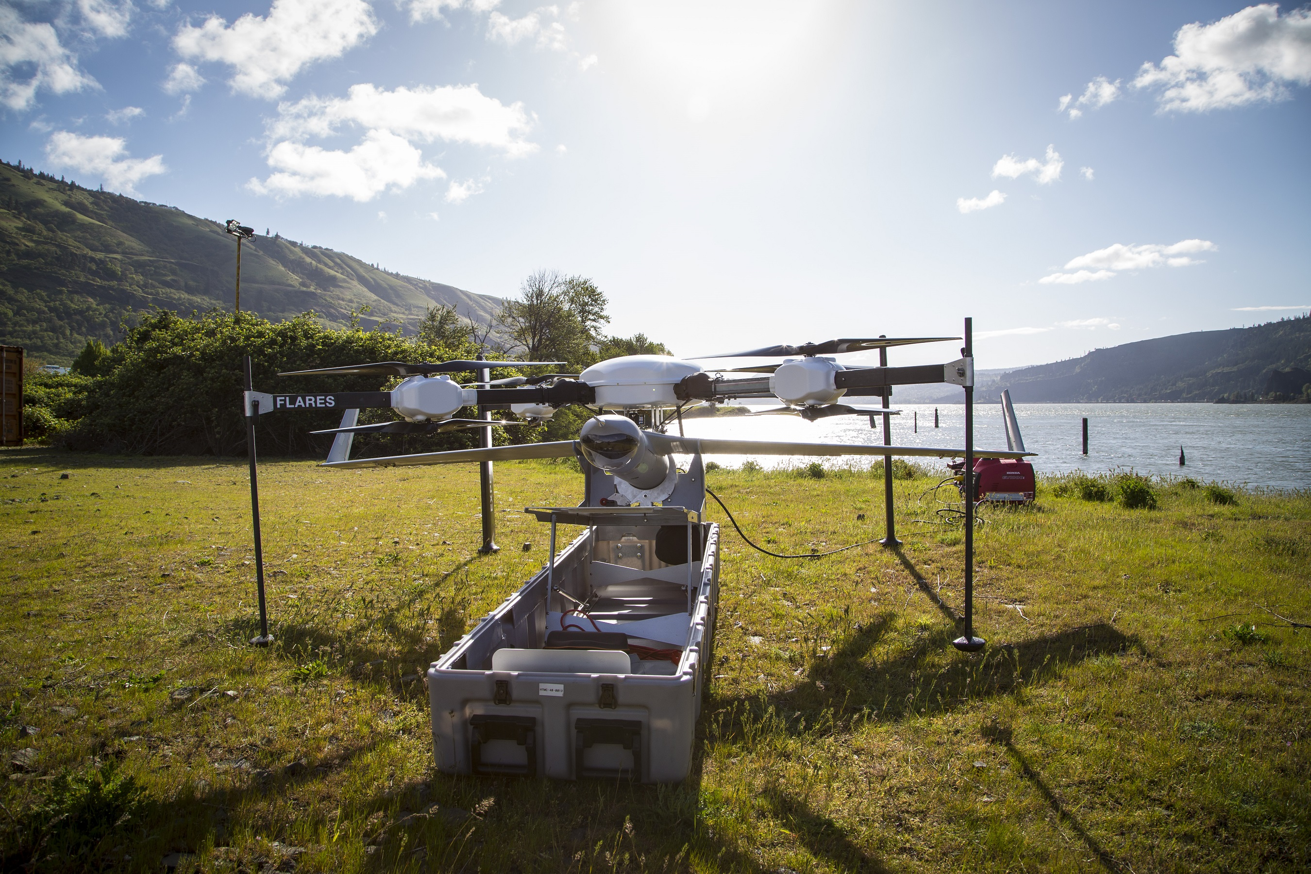 Insitu's new Flying Launch and Recovery System (FLARES) launches ScanEagle from the air and captures the vehicle without ground equipment. Insitu photo.