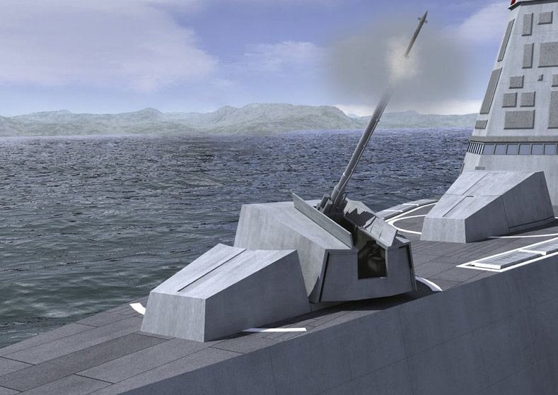 Artist's concept of an Advanced Gun System Firing a Long Range Land Attack Projectile (LRLAP).