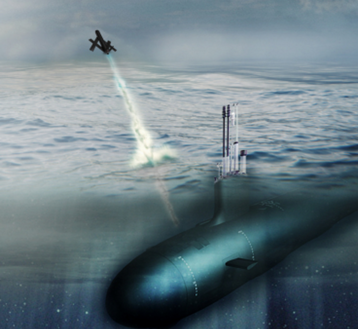 Artist's concept of a U.S. Navy submarines launching a Blackwing UAV. AeroVironment Image