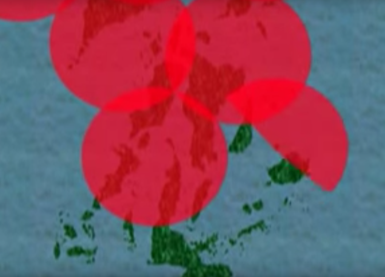 An image from a 2002 video on the AGS showing gun coverage over an unspecified chain of islands.