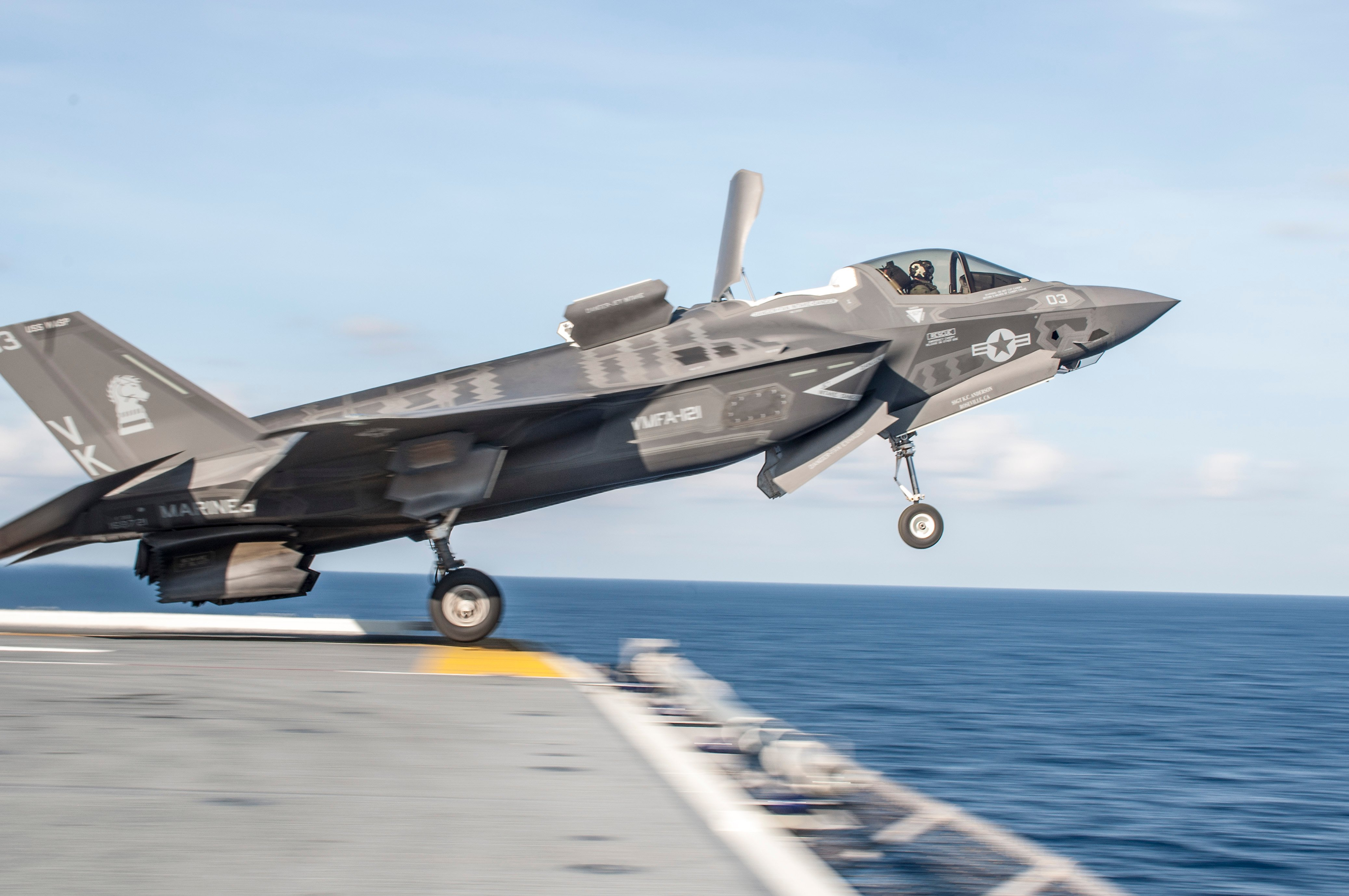 An F-35B Lightning II takes off from the flight deck of the amphibious assault ship USS Wasp (LHD-1) on May 25, 2015. US Navy Photo