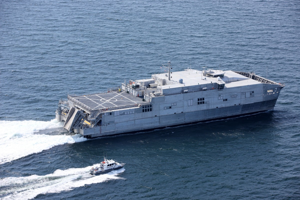 Expeditionary Fast Transport 7 (EPF 7), USNS Carson City during Acceptance Trials in the Gulf of Mexico. Austal USA photo.