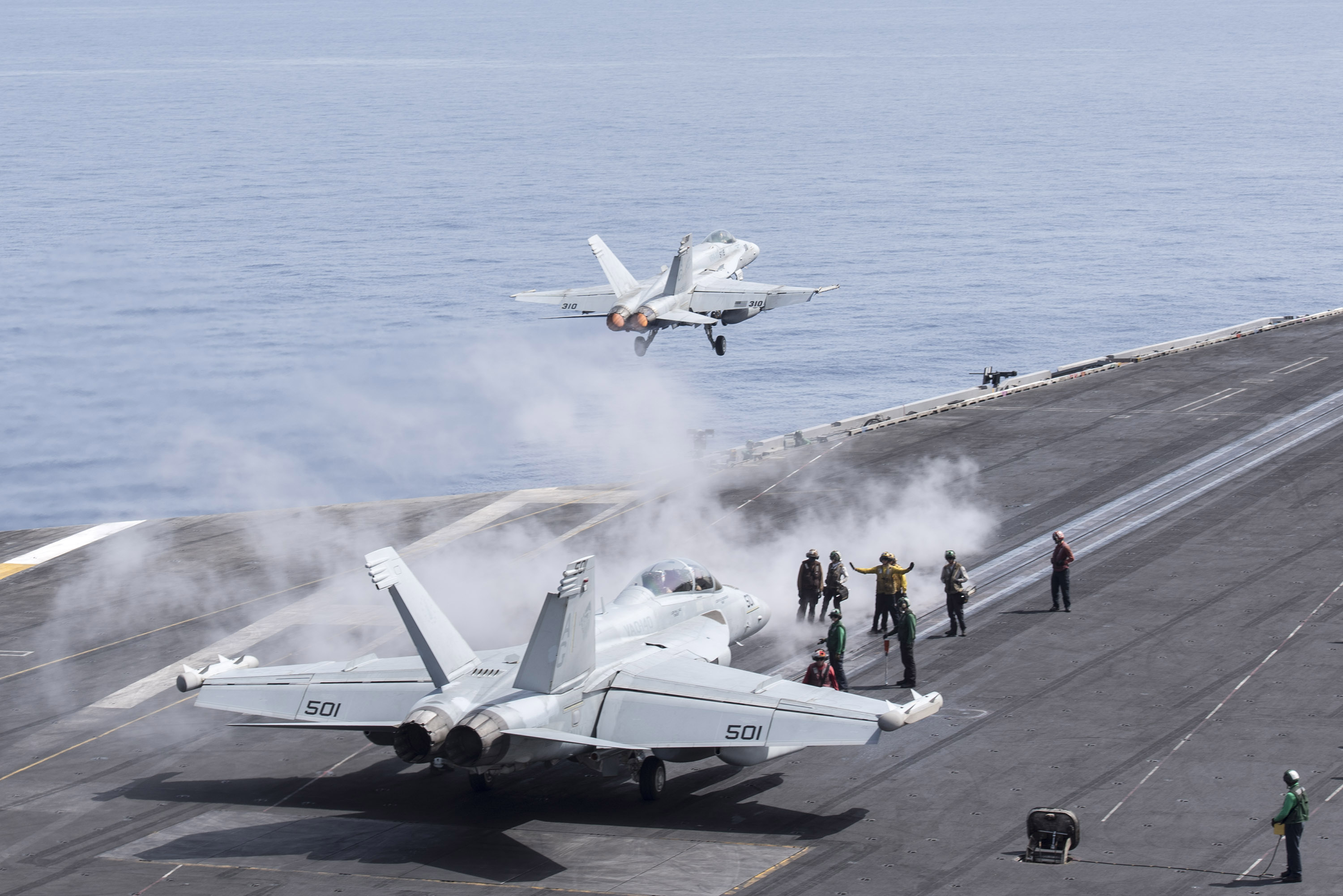 "An F/A-18C Hornet, assigned to the ""Rampagers"" of Strike Fighter Squadron (VFA) 83, launches from the flight deck of aircraft carrier USS Harry S. Truman (CVN 75). Harry S. Truman Carrier Strike Group is deployed in support of Operation Inherent Resolve, maritime security operations and theater security cooperation efforts in the U.S. 6th Fleet area of operations. US Navy photo."
