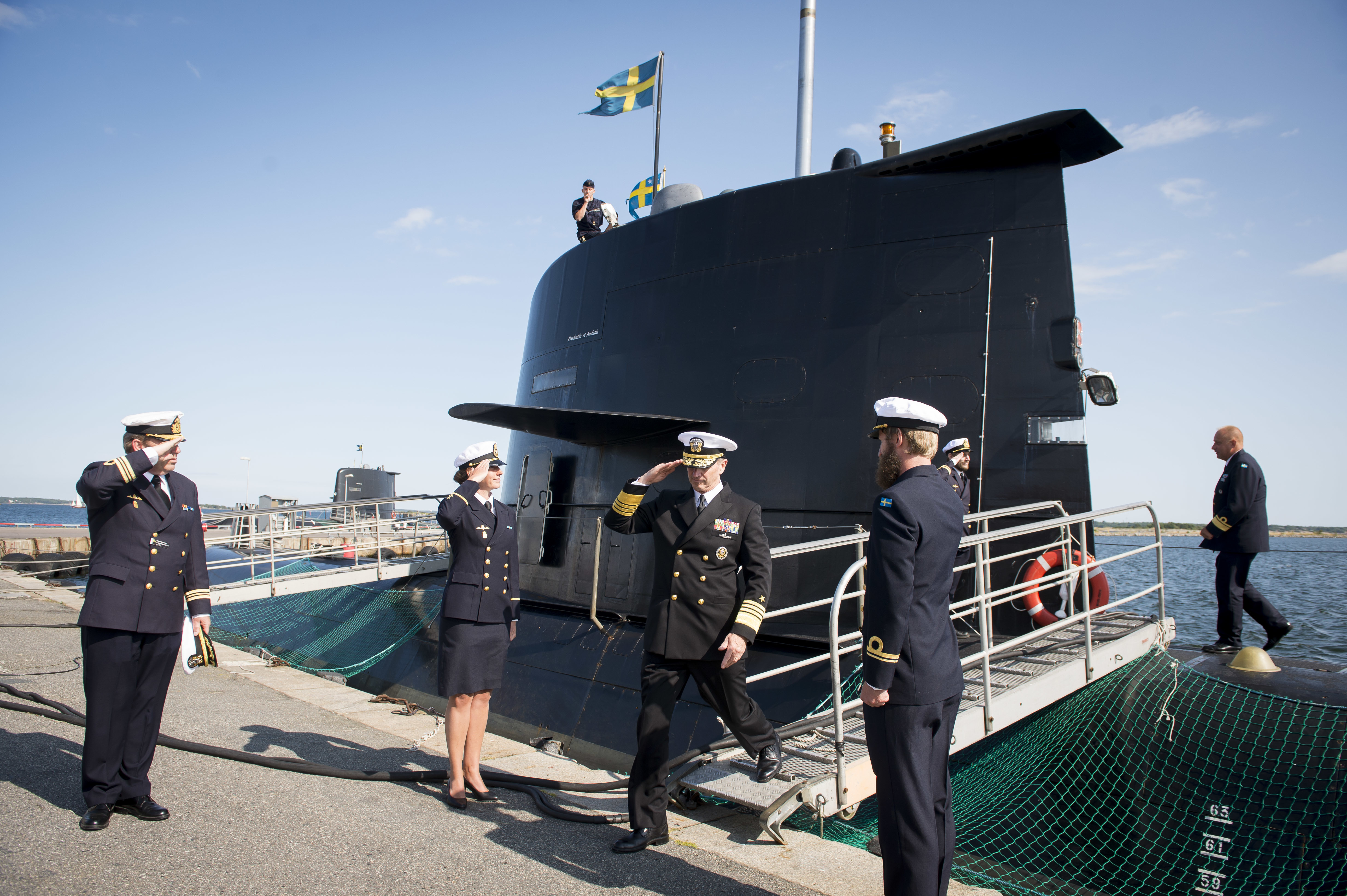 Then-Chief of Naval Operations (CNO) Adm. Jonathan Greenert is piped ashore after touring the Swedish submarine HMS Uppland at Karlskrona Naval Base on July 14, 2015. US Navy photo.