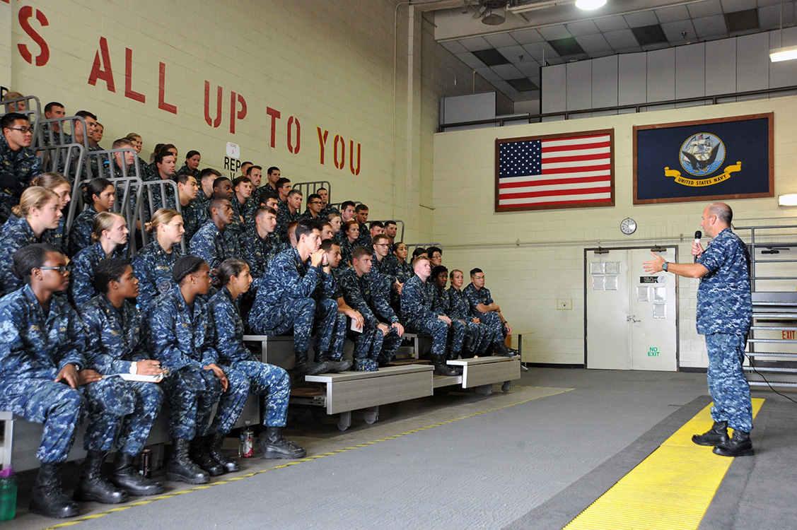 Rear Adm. James Kilby, Commander of the Naval Surface and Mine Warfighting Development Center (SWMDC), speaks to 92 junior surface warfare officers (SWO) at the Basic Division Officer Course (BDOC) at Naval Base San Diego. US Navy photo.