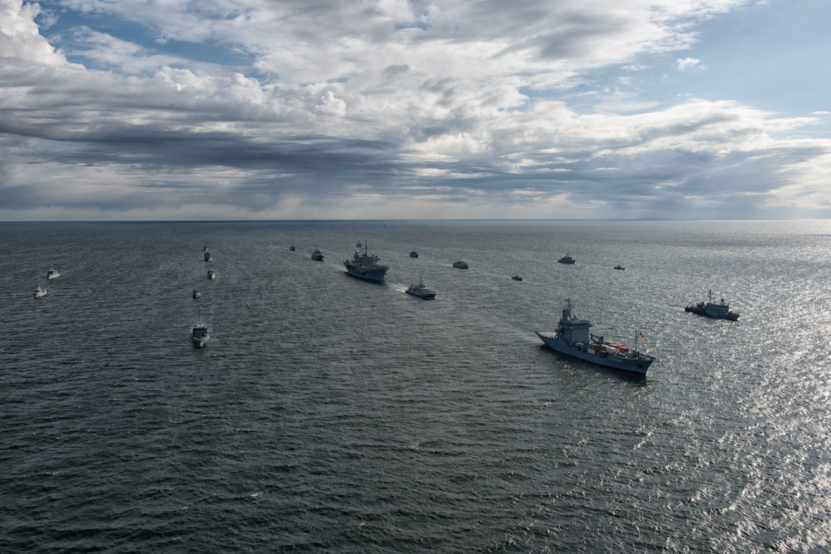 BALTOPS 2016 participants steam in formation during a photo exercise June 10, 2016. BALTOPS is an annual recurring multinational exercise designed to improve interoperability, enhance flexibility and demonstrate the resolve of allied and partner nations to defend the Baltic region. French Air Force photo.