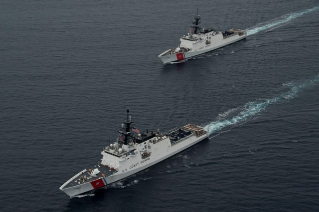 National security cutters Bertholf and Waesche steam together off the coast of southern California. US Coast Guard photo.