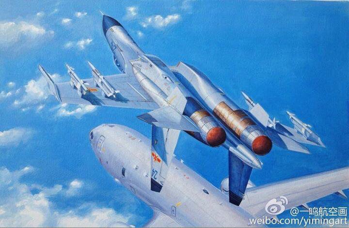 An artist's depiction of a Chinese J-11 intercepting a US Navy P-8A Poseidon in 2014. Image via Weibo