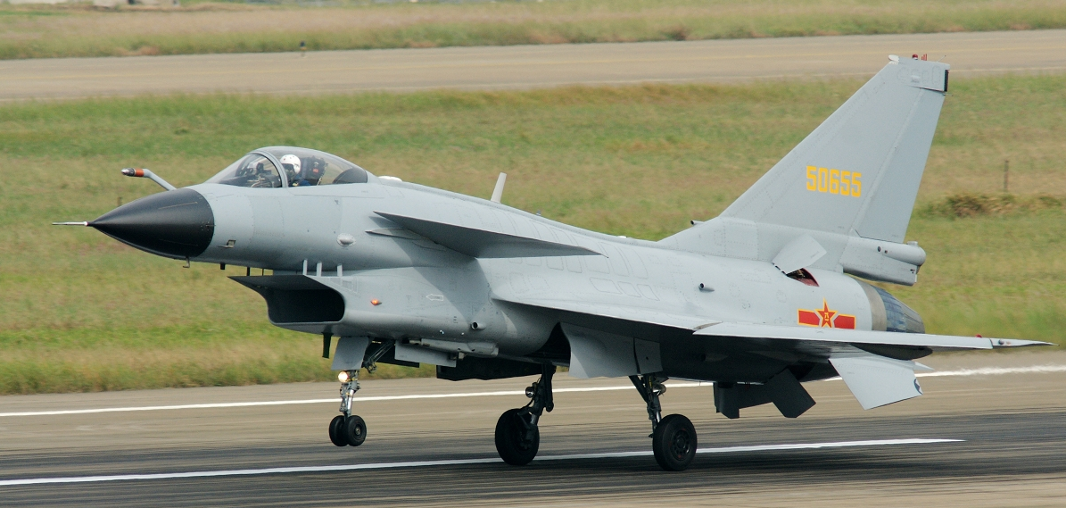 Chinese Chengdu J-10 Firebird fighter in 2009 via Wikipedia