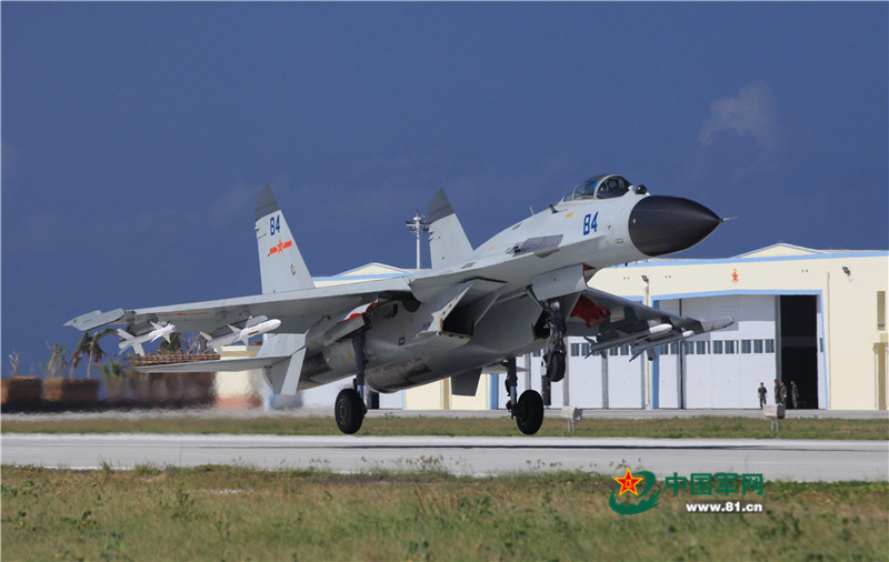 PLANAF Shenyang J-11BH interceptor, believed to be assigned to the 25th Aviation Regiment, 9th Naval Aviation Division taking off during a deployment exercise to Woody Island. Chinese Ministry of Defense Photo