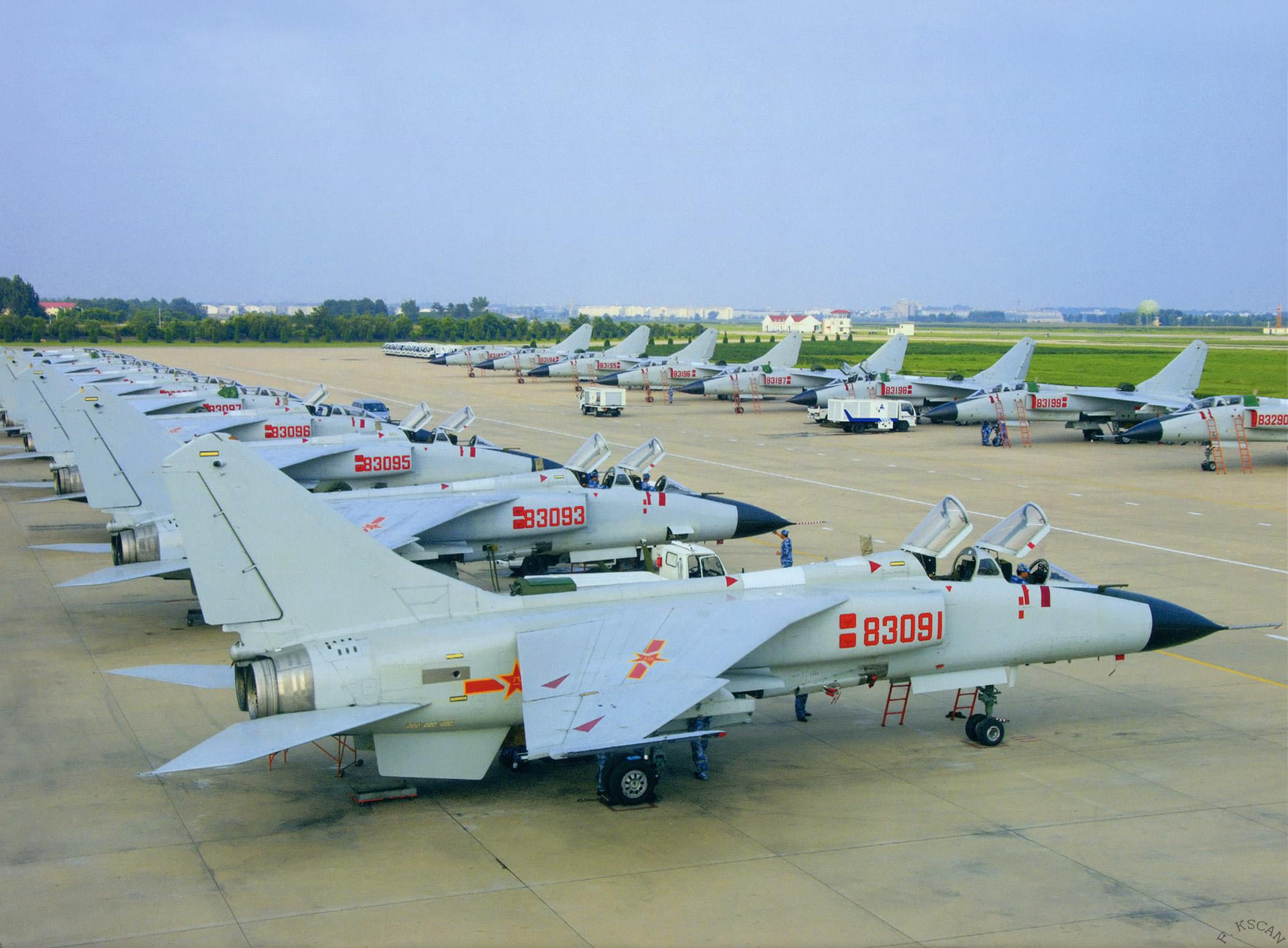 PLANAF Xi'an JH-7A fighter-bombers belonging to the PLAN's 27th Aviation Regiment, 9th Naval Aviation Division normally based at Ledong in Hainan. Chinese Ministry of Defense Photo
