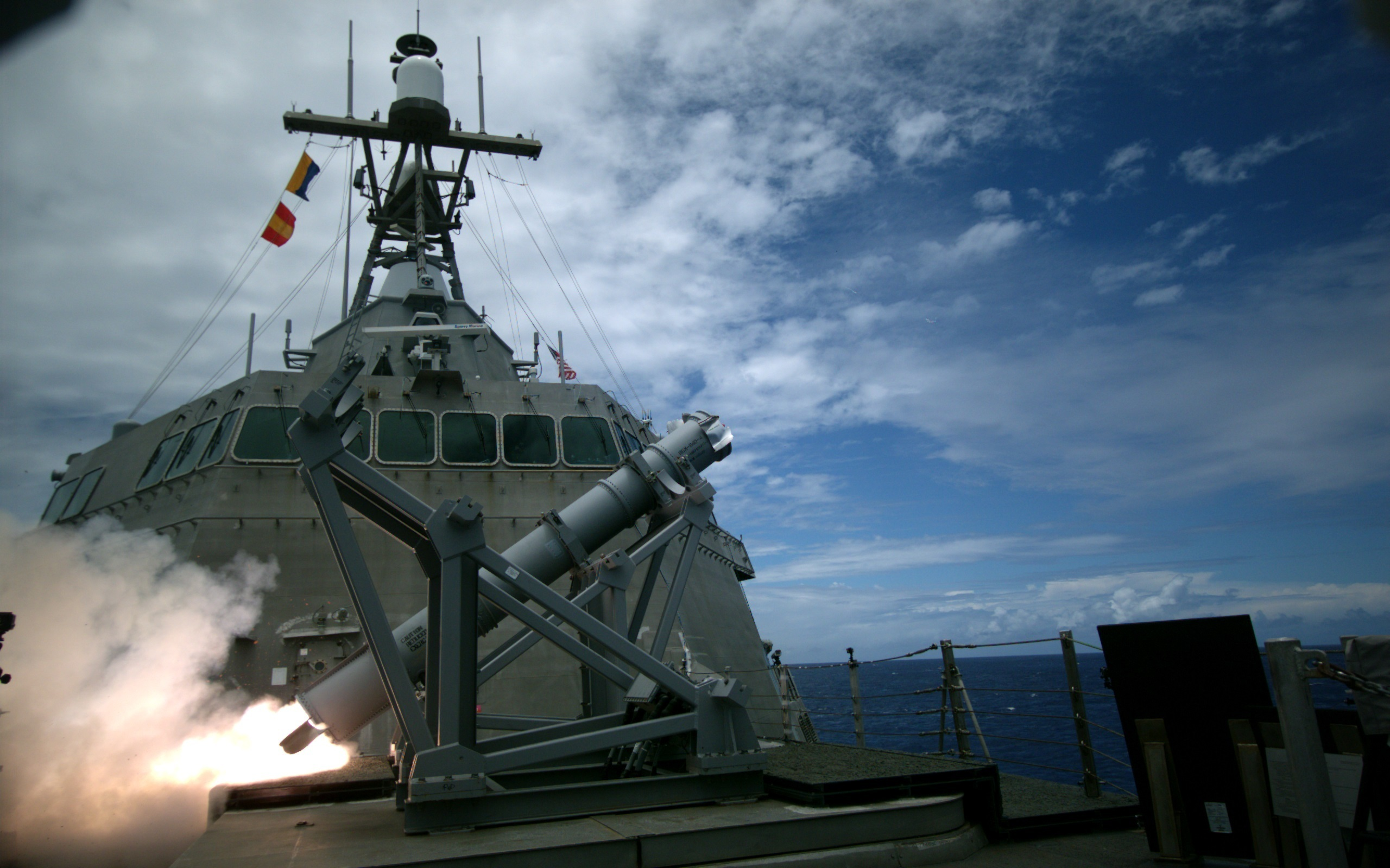 USS Coronado (LCS-4), an Independence-variant littoral combat ship, launches the first over-the-horizon missile engagement using a Harpoon Block 1C missile. US Navy Photo Twenty-six nations, 40 ships and submarines, more than 200 aircraft and 25,000 personnel are participating in RIMPAC from June 30 to Aug. 4, in and around the Hawaiian Islands and Southern California. The world's largest international maritime exercise, RIMPAC provides a unique training opportunity that helps participants foster and sustain the cooperative relationships that are critical to ensuring the safety of sea lanes and security on the world's oceans. RIMPAC 2016 is the 25th exercise in the series that began in 1971. (U.S. Navy photo by Lt. Bryce Hadley/Released)