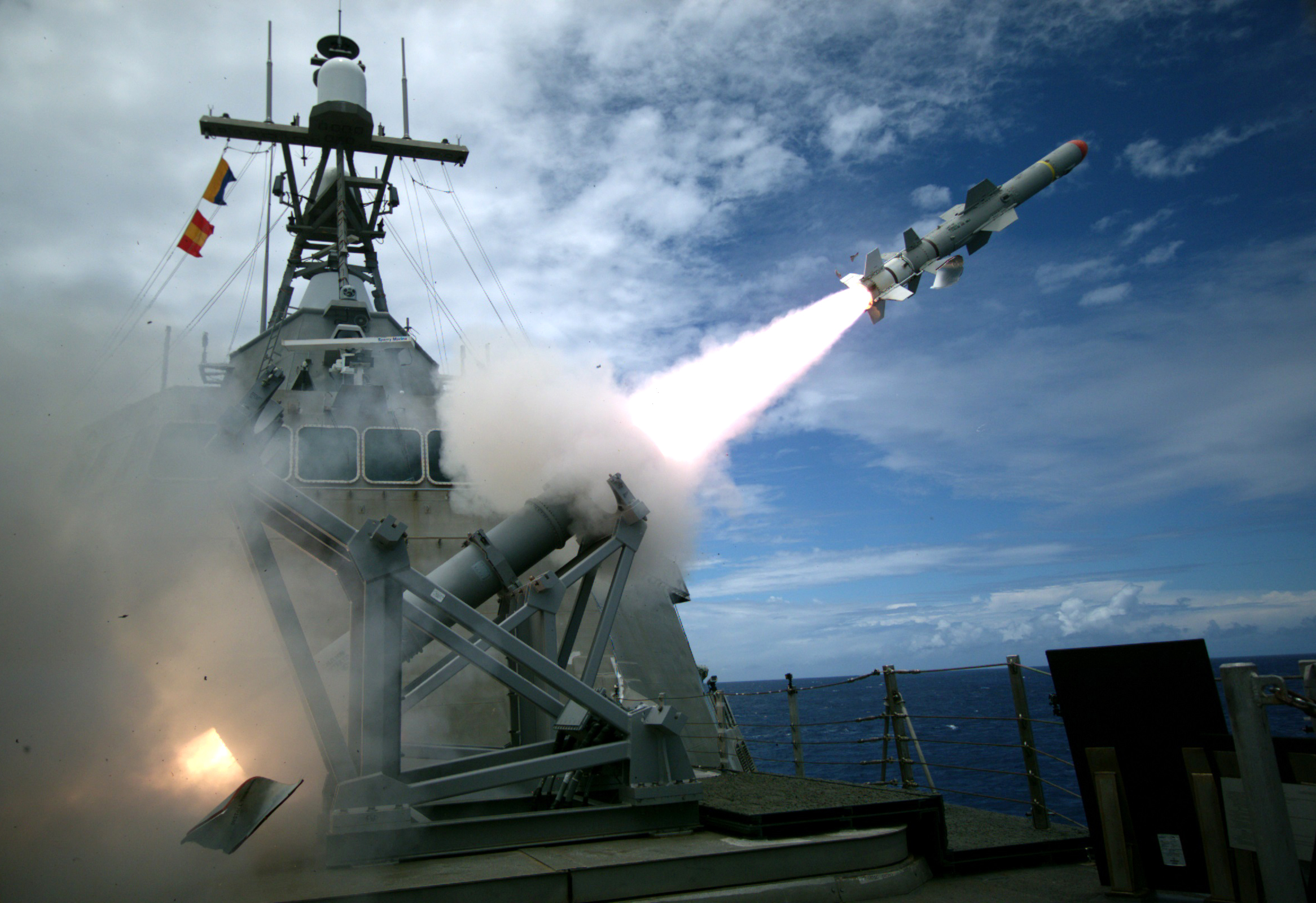 USS Coronado (LCS 4), an Independence-variant littoral combat ship, launches the first over-the-horizon missile engagement using a Harpoon Block 1C missile. US Navy photo.