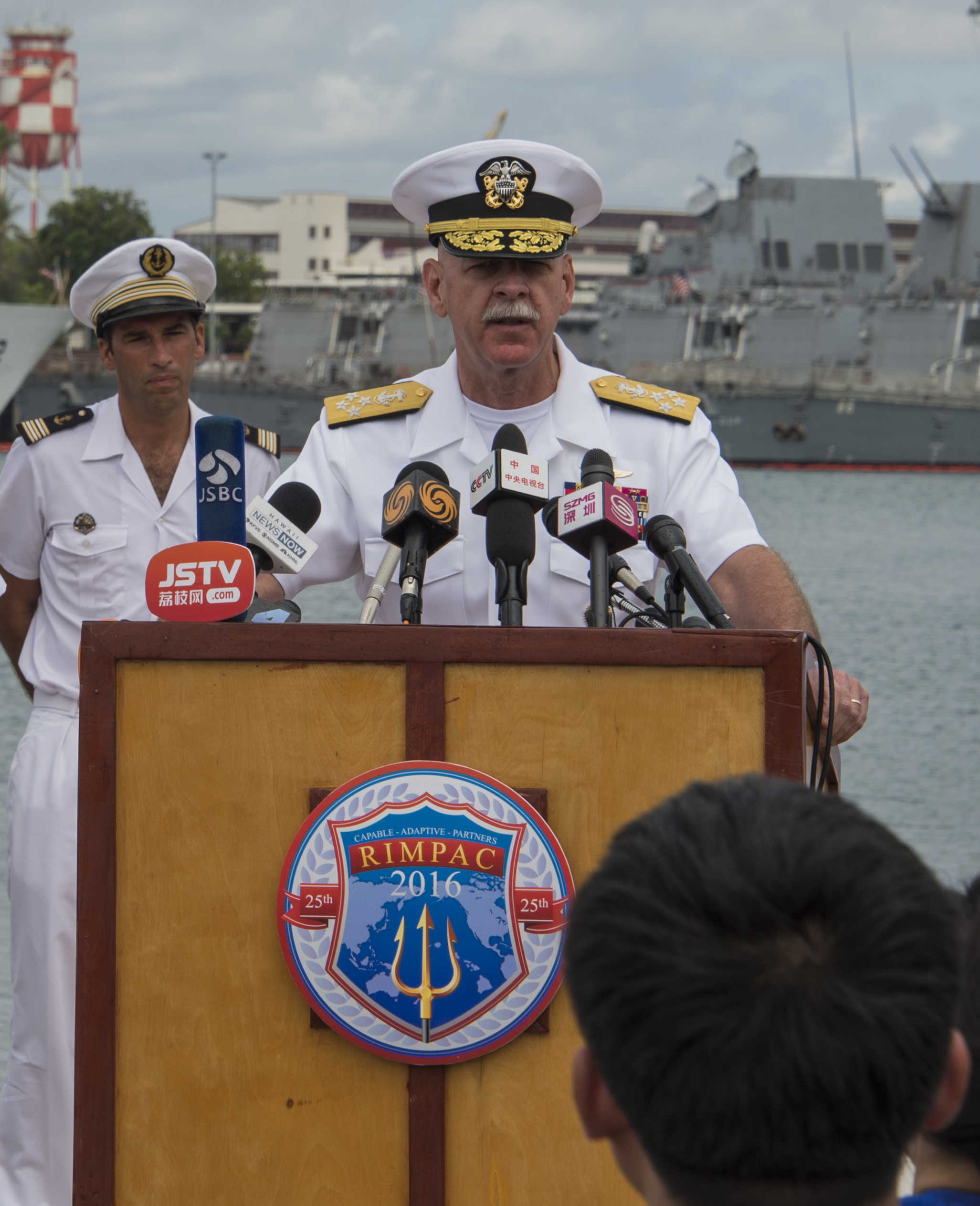 Adm. Scott Swift, Commander, U.S. Pacific Fleet, addresses attendees during a news conference at Joint Base Pearl Harbor-Hickam, Hawaii at Rim of the Pacific 2016 on July 5, 2016. US Navy Photo