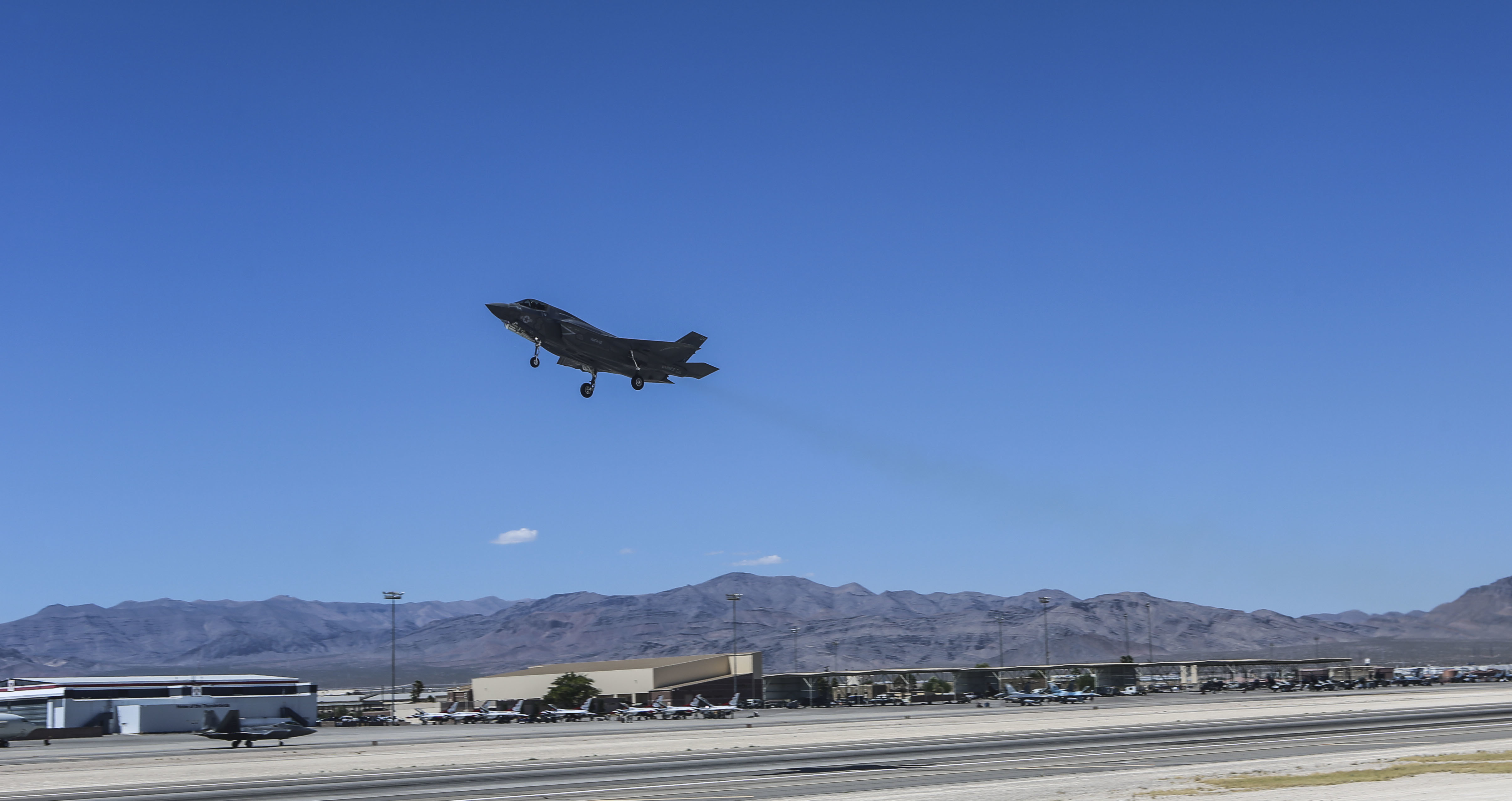 An F-35B Lightning II with Marine Fighter Attack Squadron (VMFA) 121 takes off during exercise Red Flag 16-3 at Nellis Air Force Base, Nev., July 20, 2016. US Marine Corps Photo