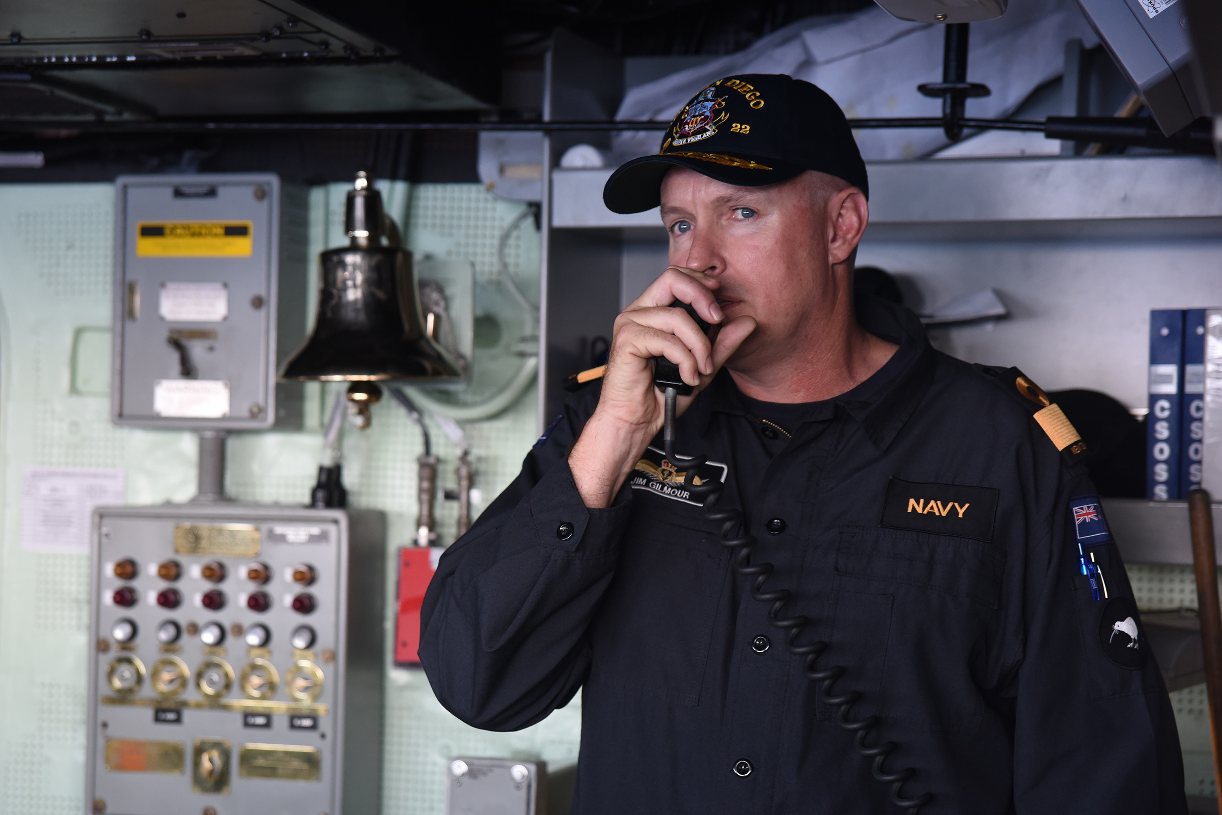 Royal New Zealand Navy Commodore James Gilmour, commander, Combined Task Force 176, addresses the crew of amphibious transport dock ship USS San Diego (LPD-22) during Rim of the Pacific 2016. US Navy Photo