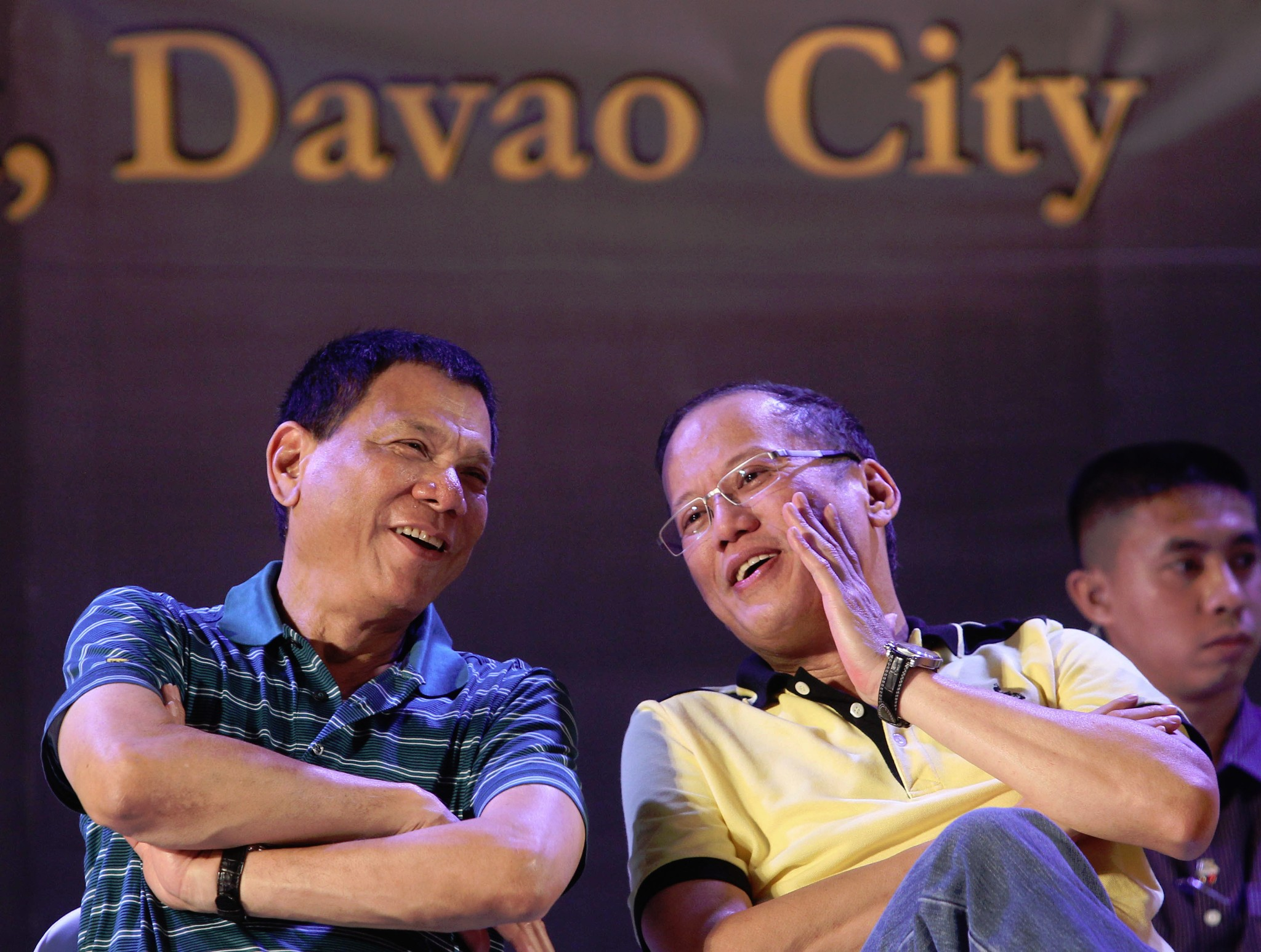 President Benigno S. Aquino III converses with Davao City Vice Mayor Rodrigo Duterte during the Meeting with Local Leaders and the Community at the Rizal Park in San Pedro Street, Davao City on Wednesday (March 06, 2013). The Liberal Party (LP) was founded on January 19, 1946 by Manuel Roxas, the first President of the Third Philippine Republic. (Photo by: Ryan Lim / Malacañang Photo Bureau).
