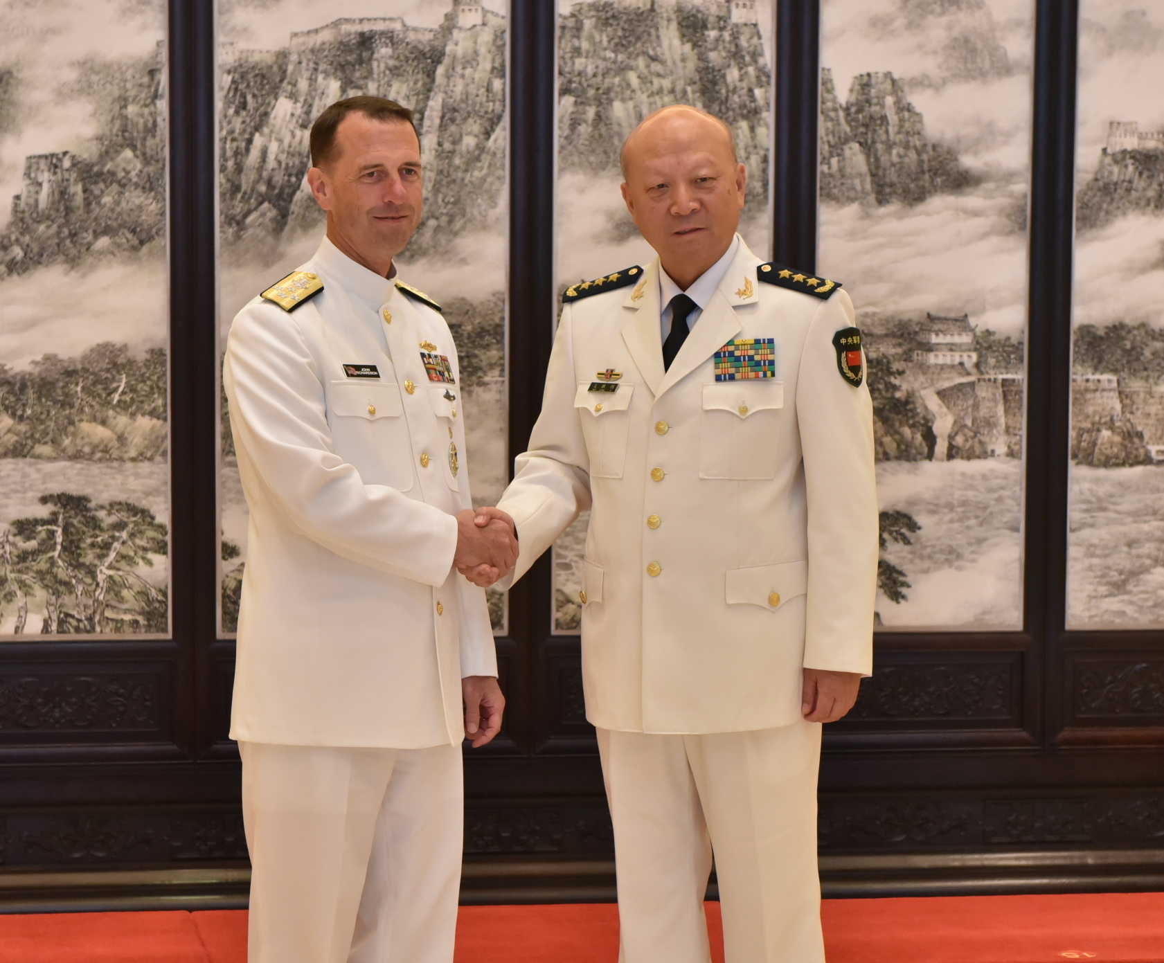 Chief of Naval Operations Adm. John Richardson meets with Adm. Wu Shengli, Commander of the People's Liberation Army Navy (PLAN) on July 18, 2016. US Navy Photo
