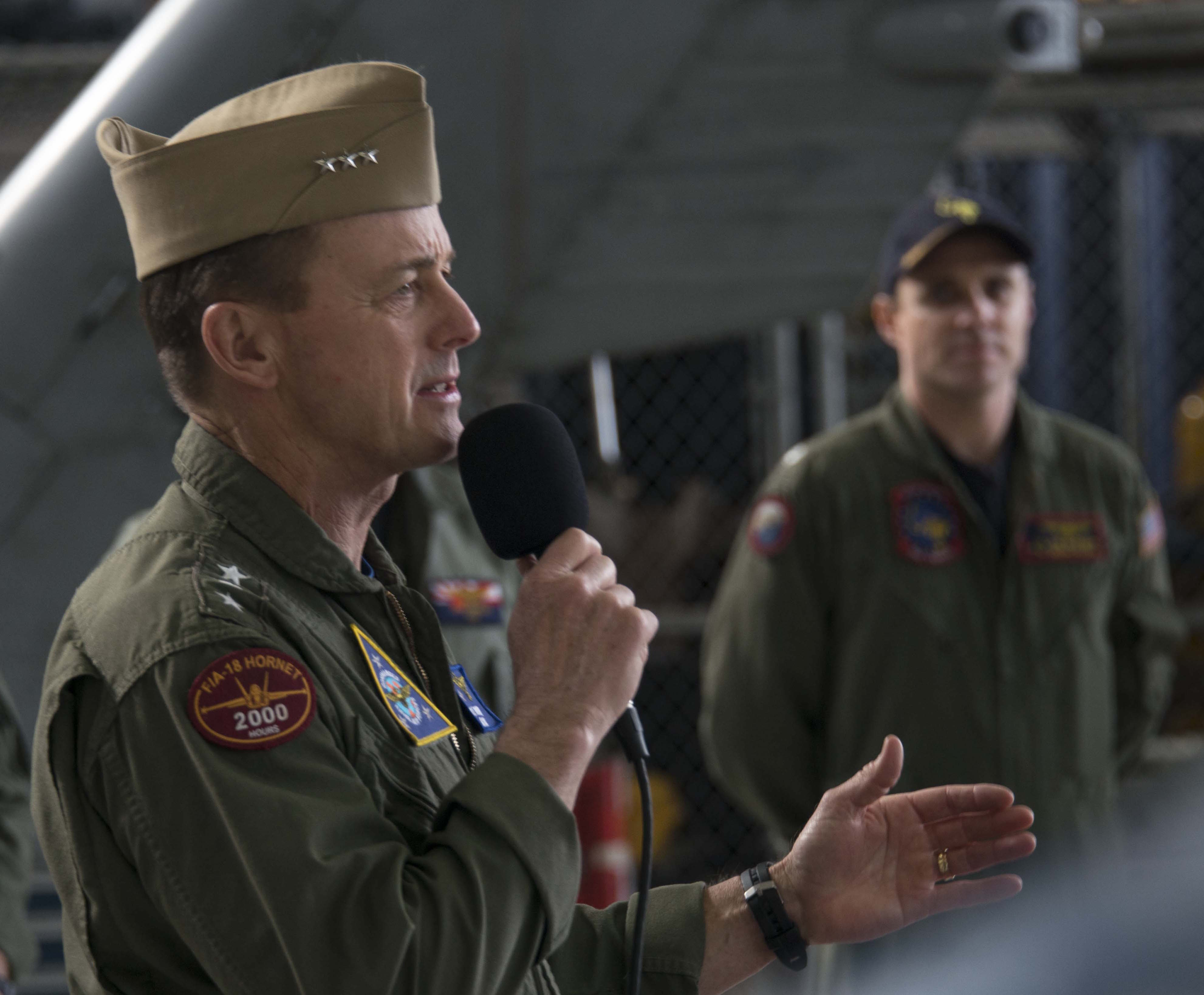 Commander, Naval Air Force, U.S. Pacific Fleet Vice Adm. Mike Shoemaker speaks with sailors in Atsugi, Japan on March 23, 2016. US Navy Photo