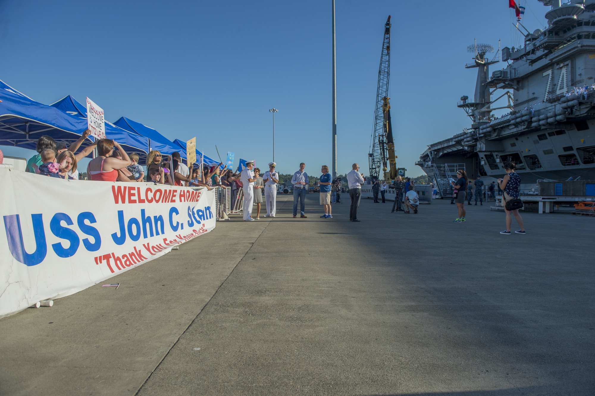 160814-N-ZP059-077 BREMERTON, Wash. (Aug. 14, 2016) — The Nimitz-class aircraft carrier USS John C. Stennis (CVN 74) is moored pier-side at Puget Sound Naval Shipyard after a seven-month deployment. Providing a ready force supporting security and stability in the Indo-Asia-Pacific, Stennis is returning from a regularly scheduled 7th Fleet deployment as part of the Great Green Fleet and Rim of the Pacific 2016, which included 26 nations, more than 40 ships and submarines, more than 200 aircraft and 25,000 personnel. (U.S. Navy photo by Mass Communication Specialist 2nd Class Jacob G. Sisco/Released)