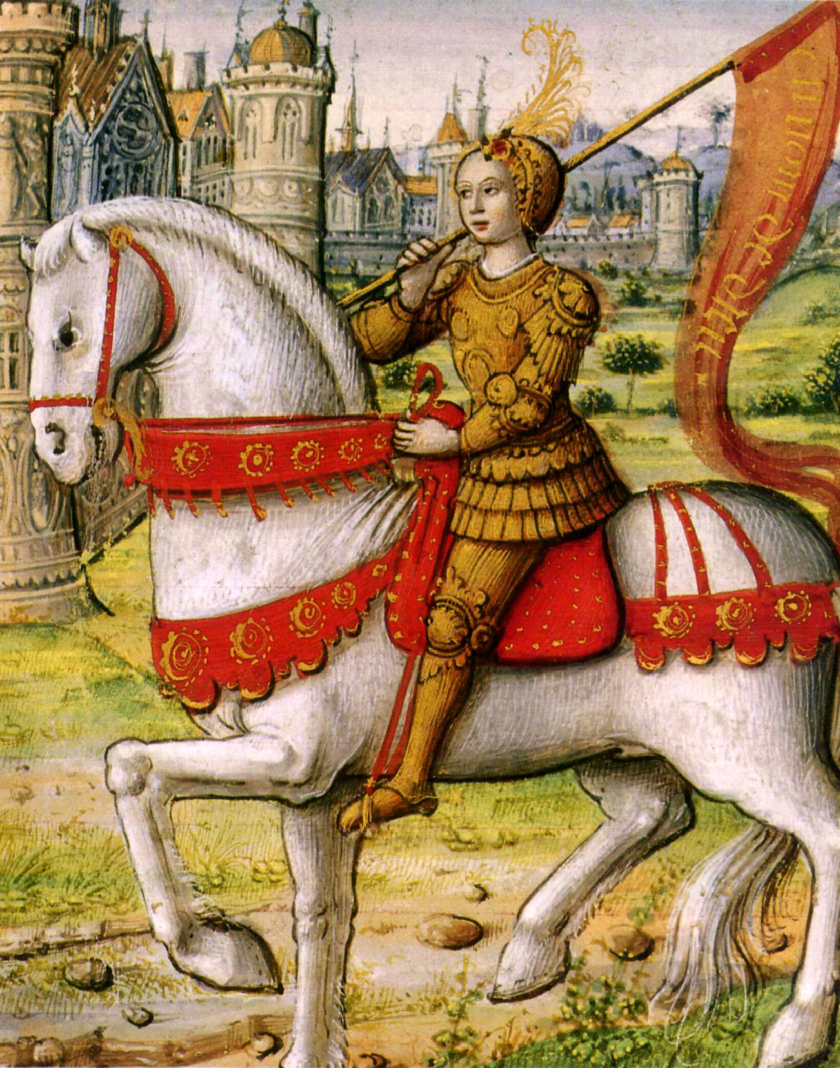 More details Joan of Arc depicted on horseback in an illustration from a 1505 manuscript. via Wikipedia