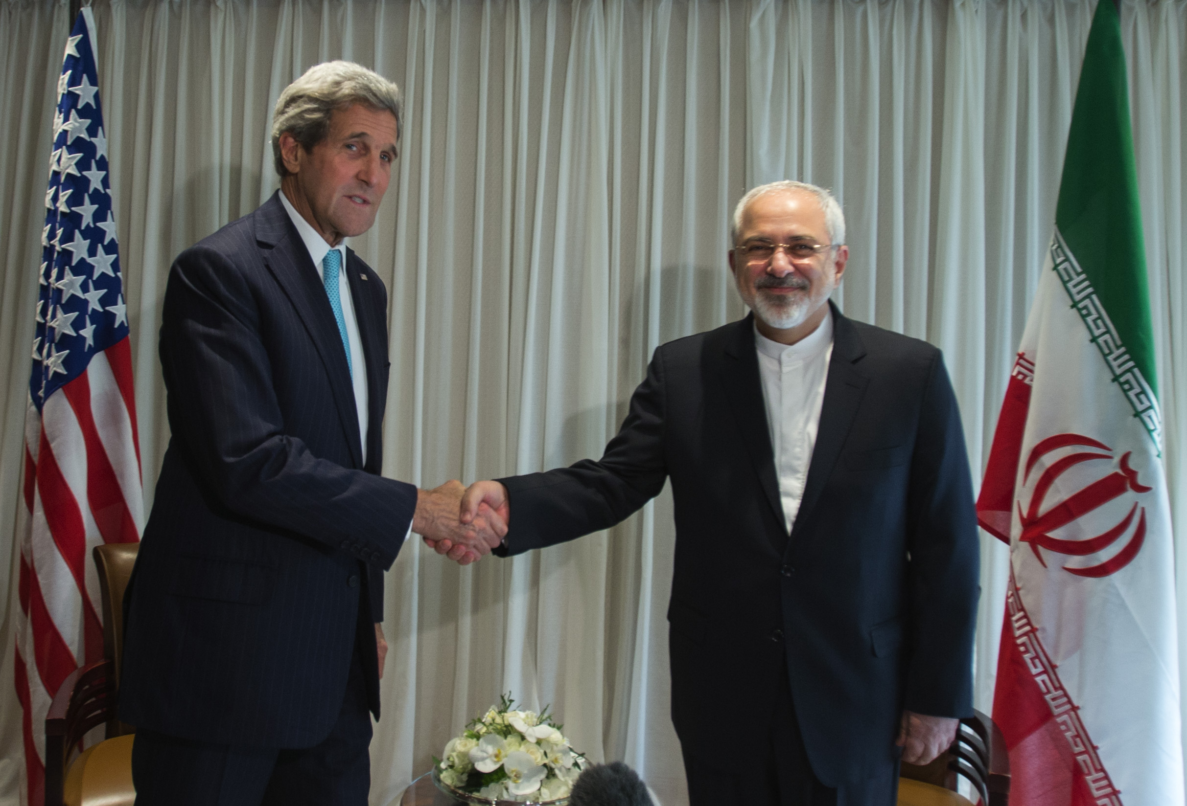 Secretary of State John Kerry meets with Iranian Foreign Minister Javad Zarif in Geneva on January 14 for a bilateral meeting to provide guidance to their negotiating teams before their next round of discussions, which begin on January 15. US State Dept. Photo