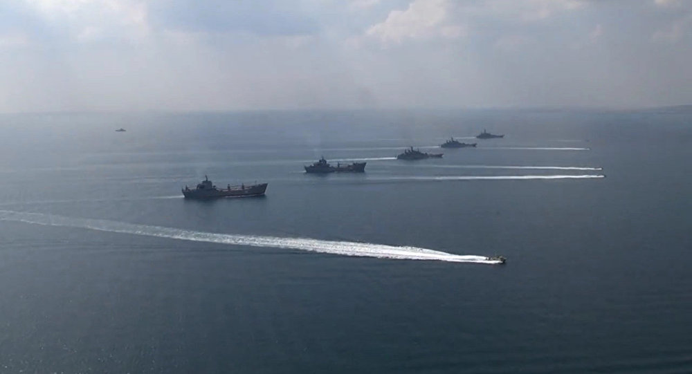 Russian ships participating in the Kavkaz-2016 exercise. Russian Ministry of Defense Photo