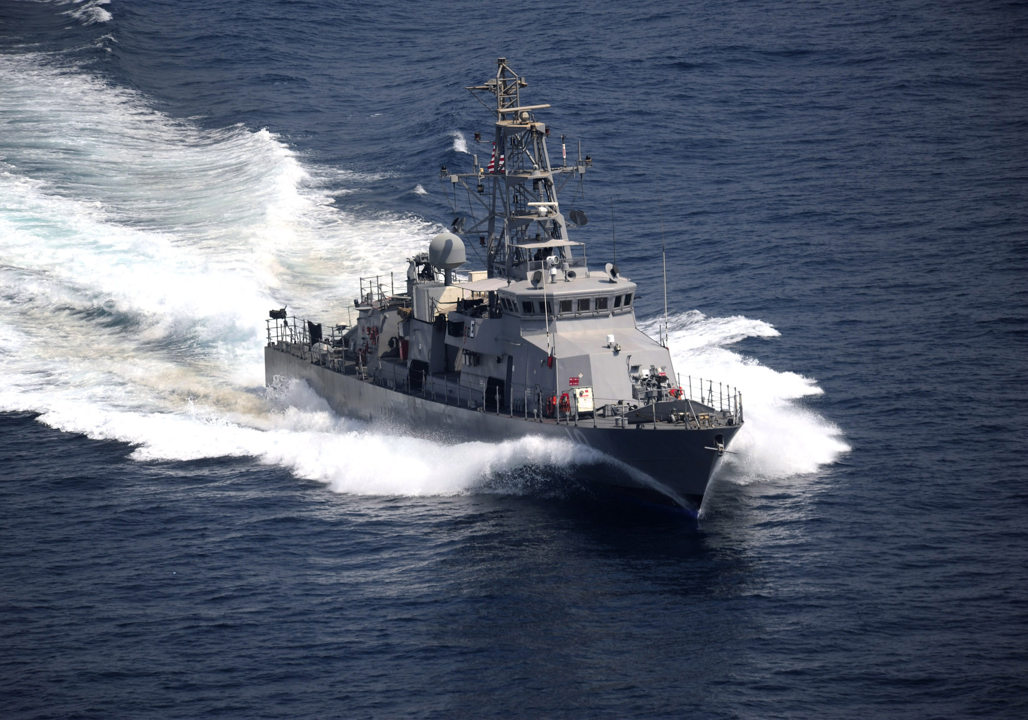 Cyclone-class coastal patrol ship USS Firebolt (PC-10) is underway during an exercise in 2011, US Navy Photo