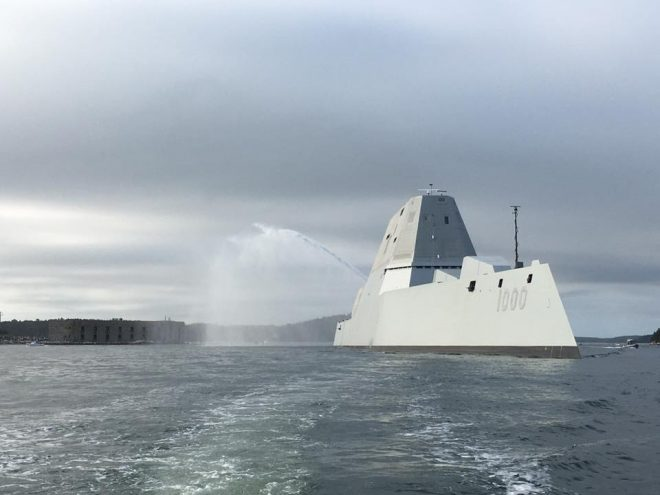 Zumwalt Destroyer Departs Bath Iron Works for San Diego Homeport