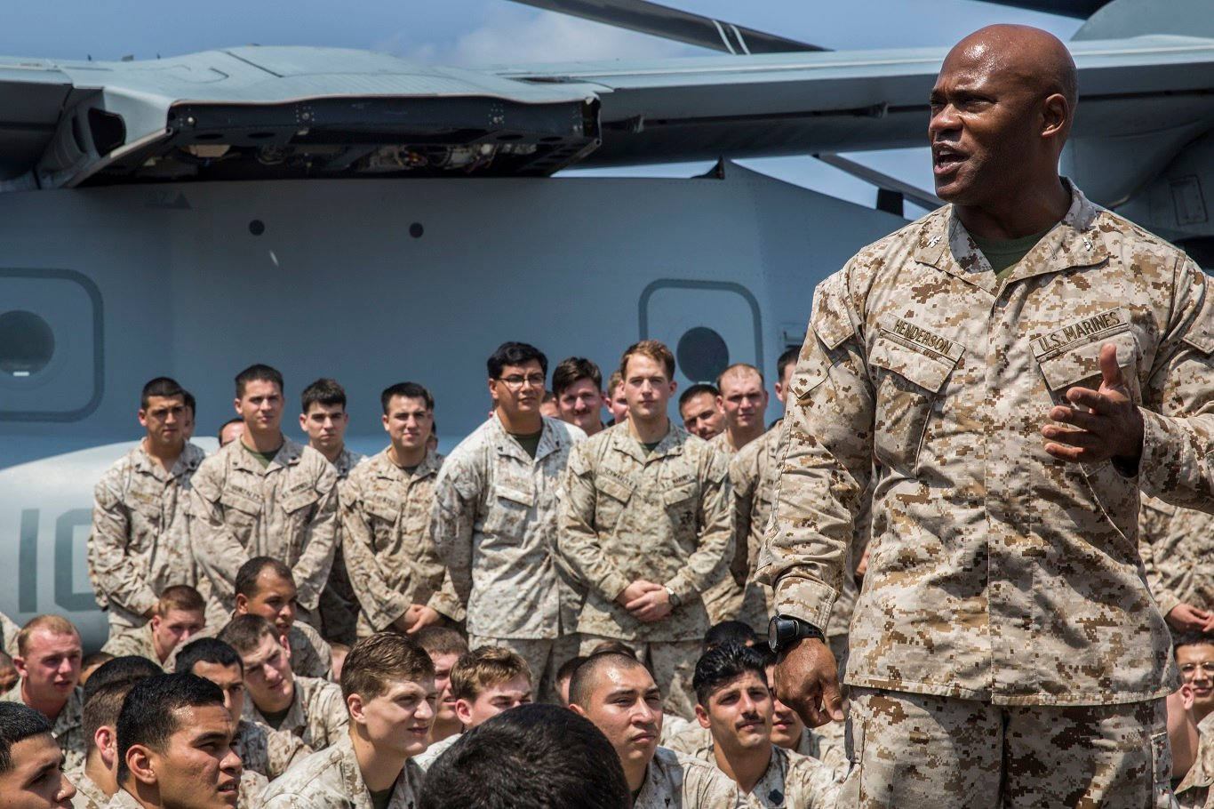 Col. Anthony M. Henderson, commanding officer of the 13th Marine Expeditionary Unit, addresses the Marines and Sailors aboard the USS New Orleans on April, 4 2016. US Marine Corps Photo