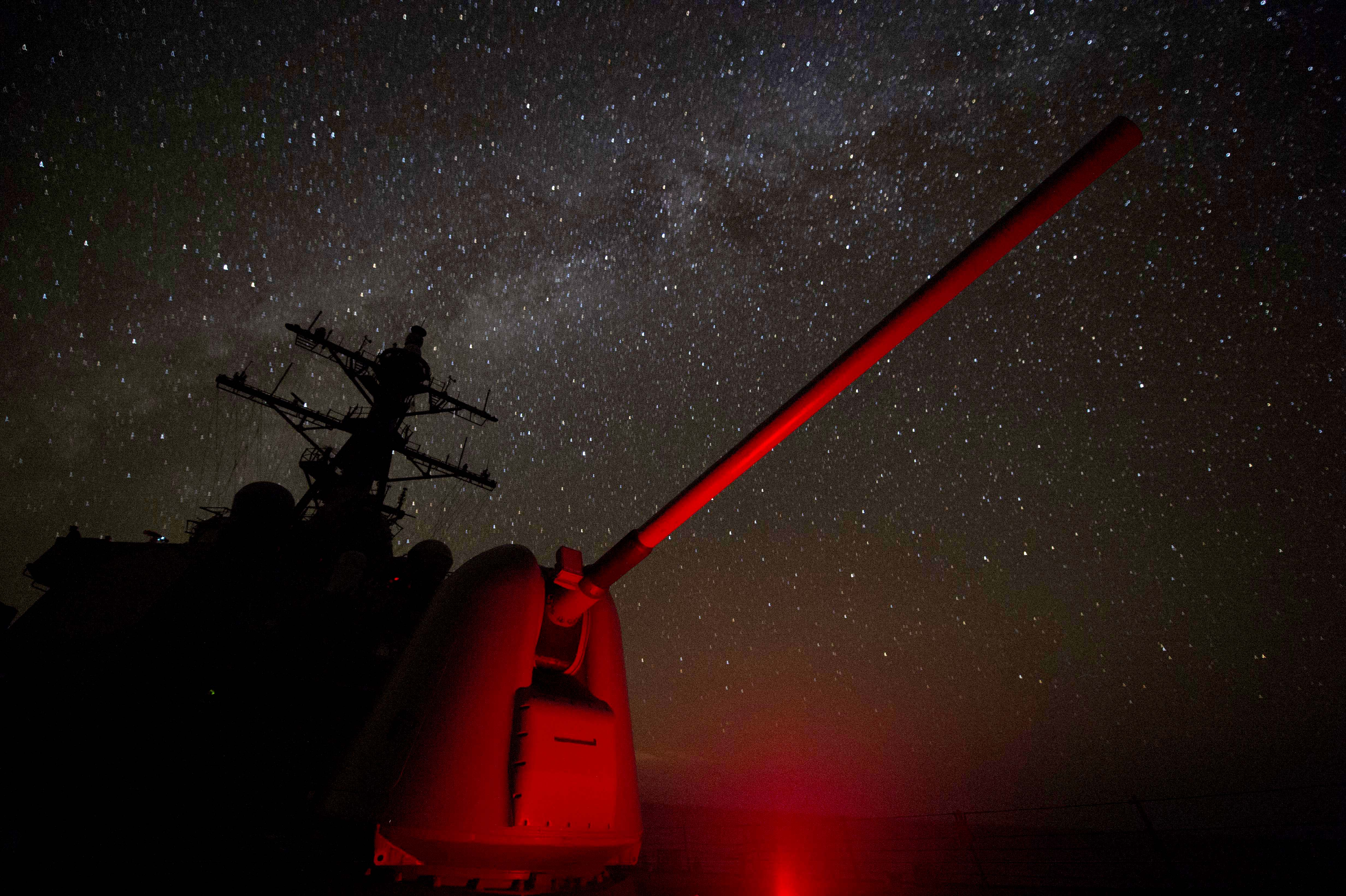 The MK 45 5-inch lightweight gun and superstructure aboard USS Carney (DDG-64) while on patrol in the Mediterranean Sea on Sept. 6, 2016. US Navy Photo