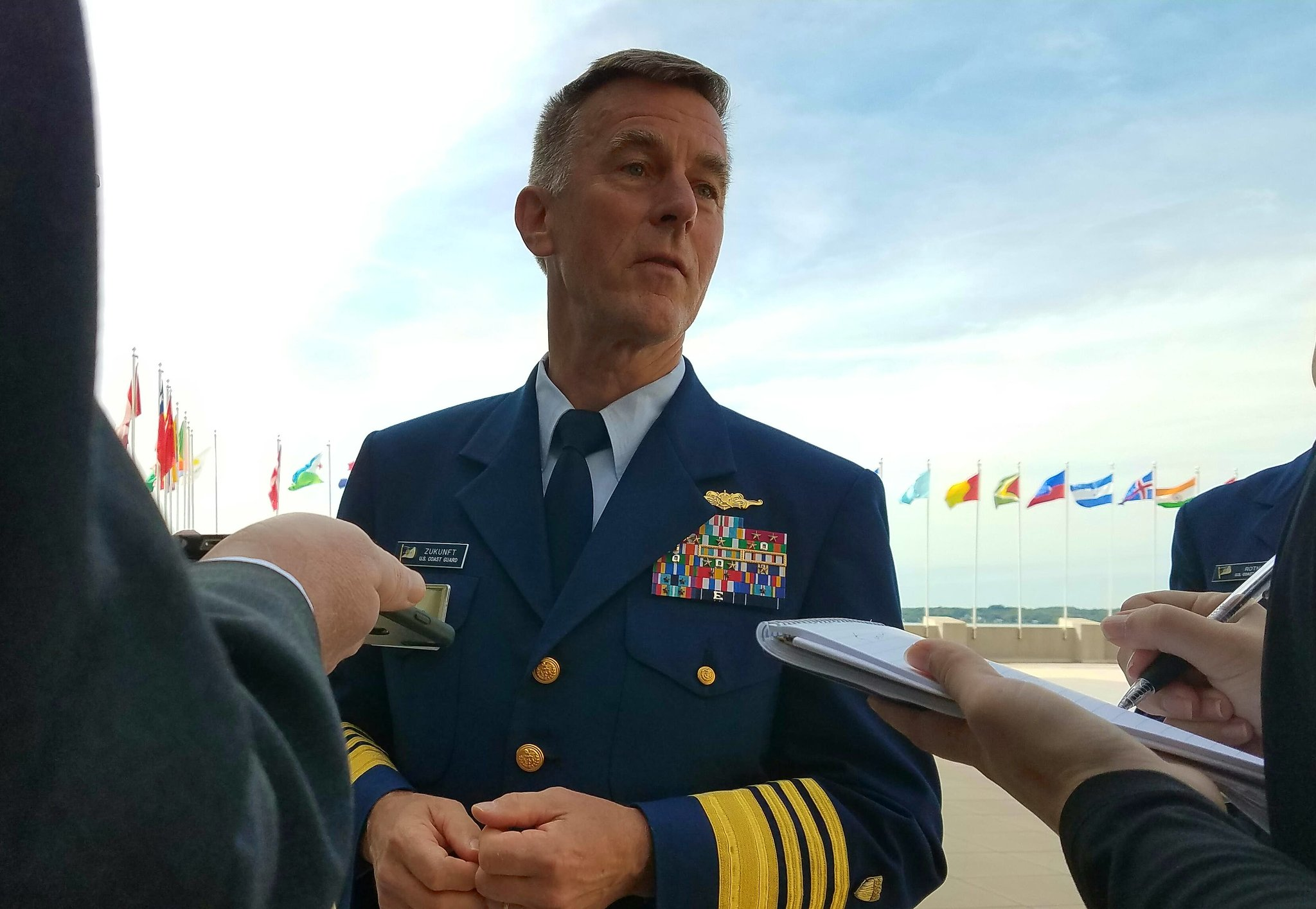 Coast Guard commandant Adm. Paul Zunkuft speaking with reporters on Sept. 21, 2016. US Navy Photo