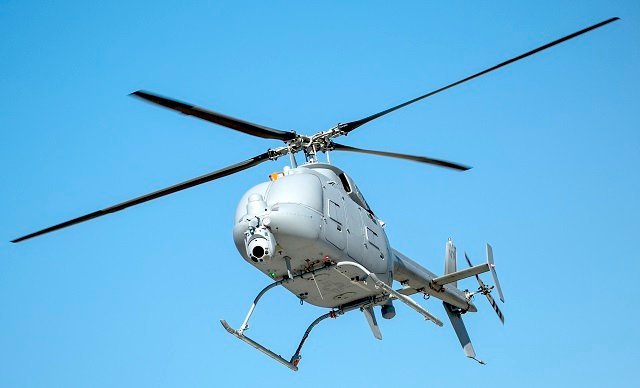MQ-8C Fire Scout returns from a test mission on the Point Mugu Sea Range in Point Mugu, Calif. US Navy Photo