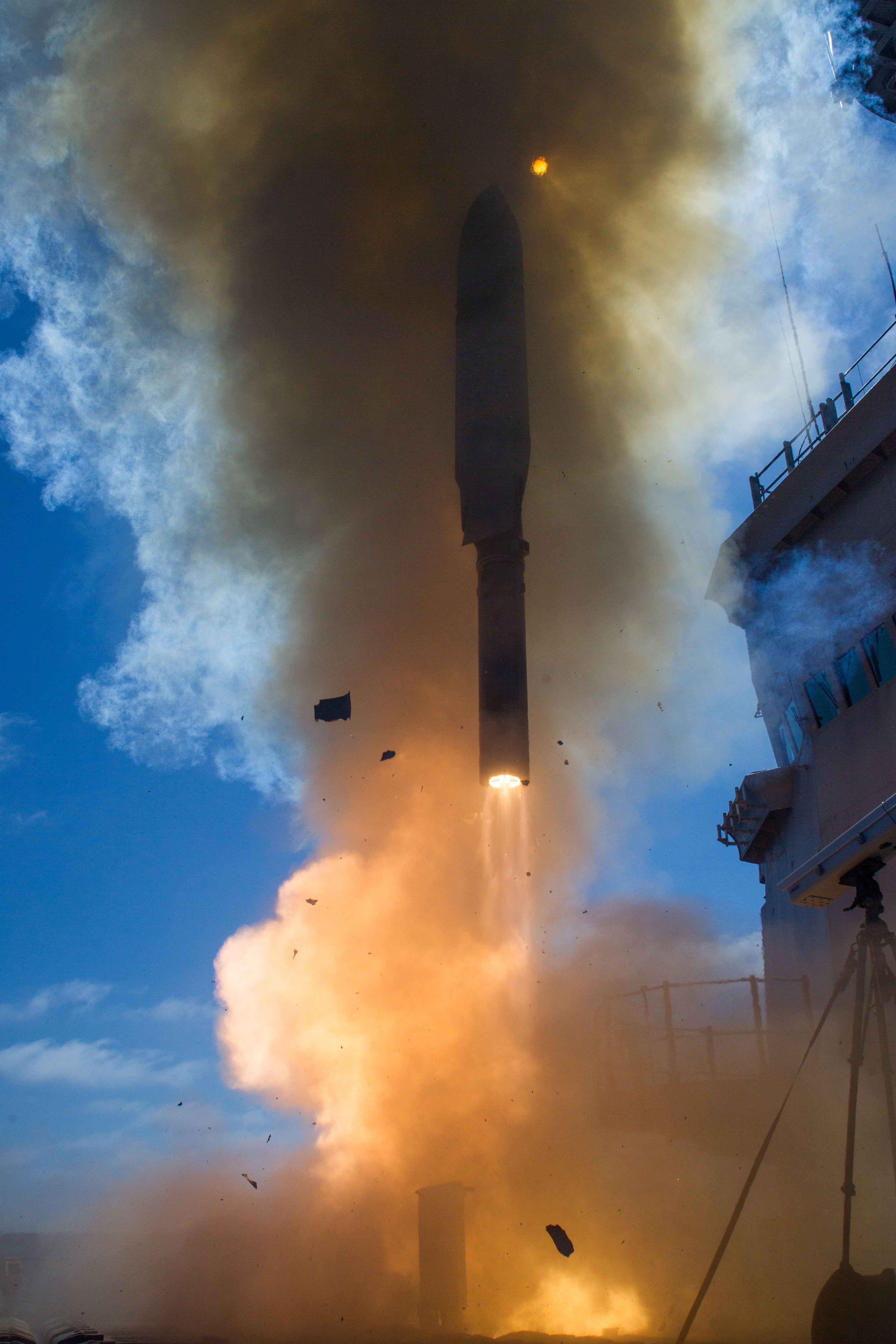 A July 2016 test of the LRASM from a MK-41 launcher on the Navy's Self Defense Test Ship. Lockheed Martin Photo